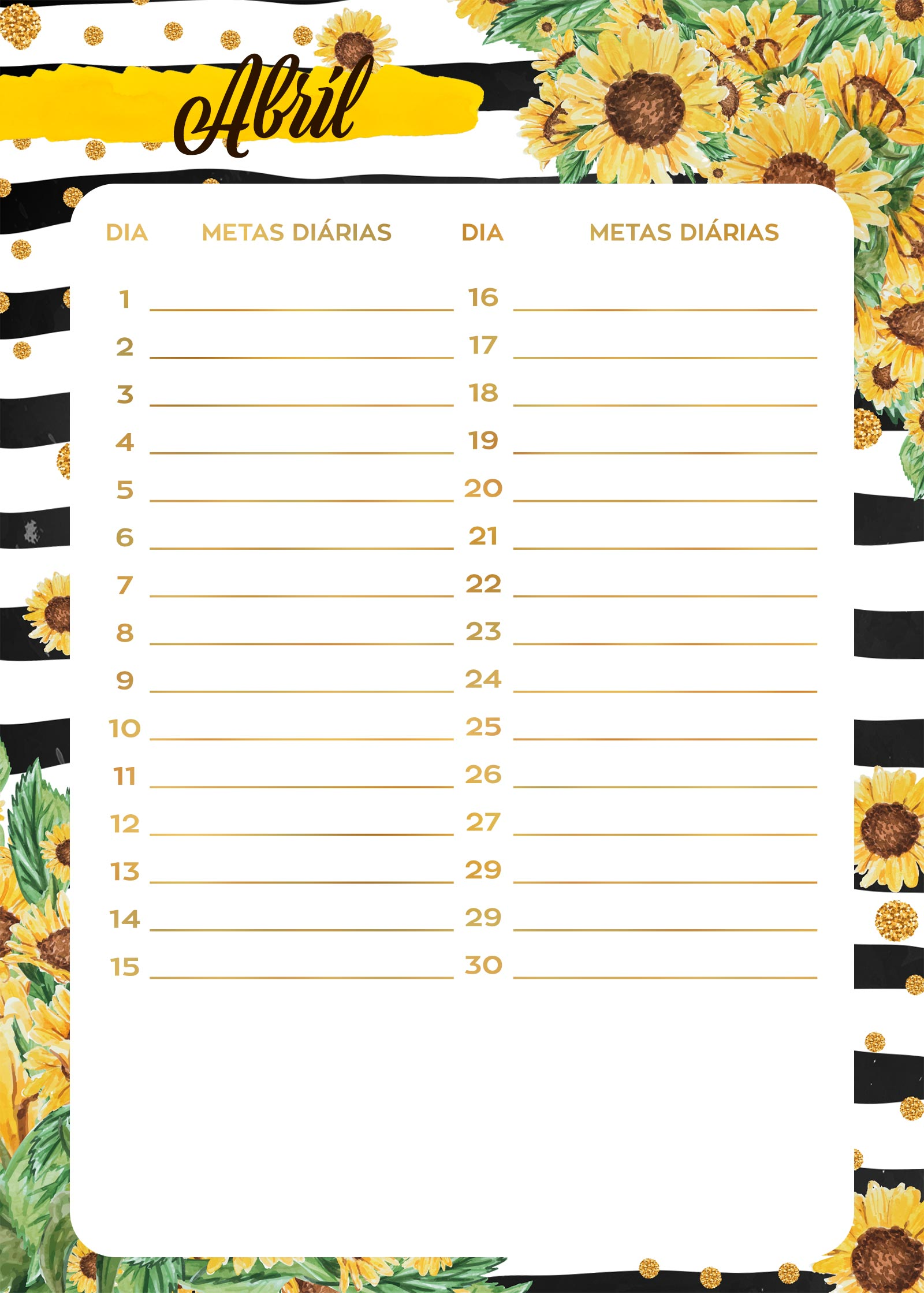Planner Girassol metas diarais abril