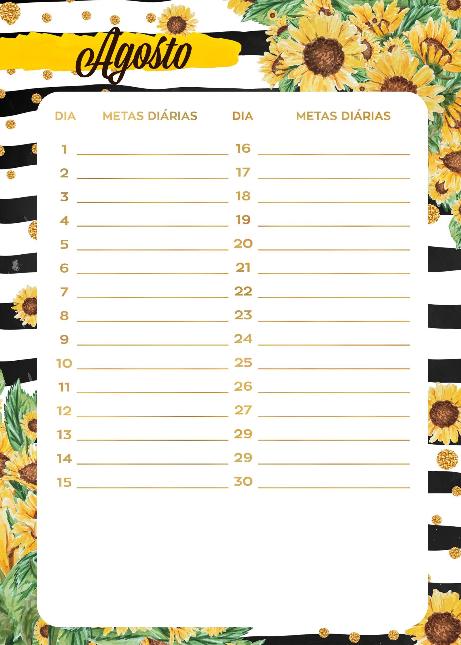 Planner Girassol metas diarias agosto
