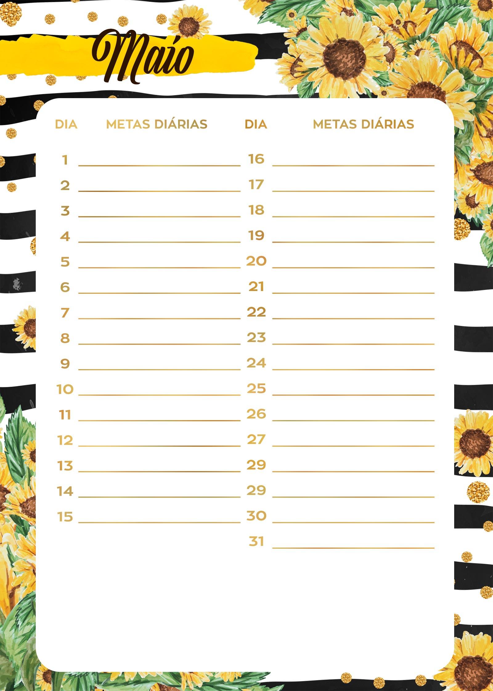 Planner Girassol metas diarias maio