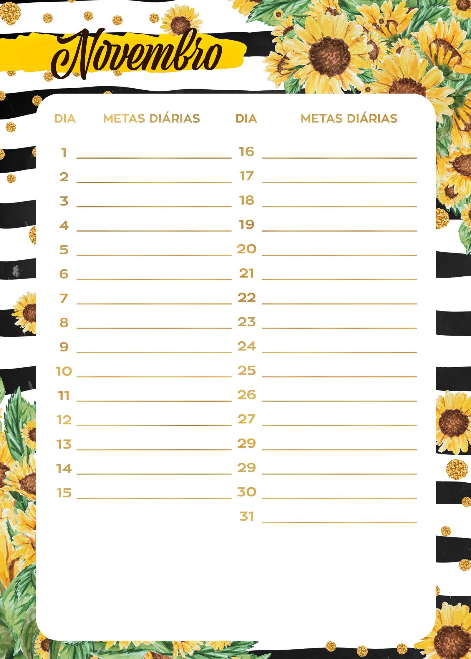 Planner Girassol metas diarias novembro