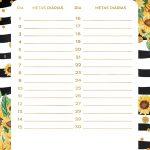 Planner Girassol metas diarias outubro