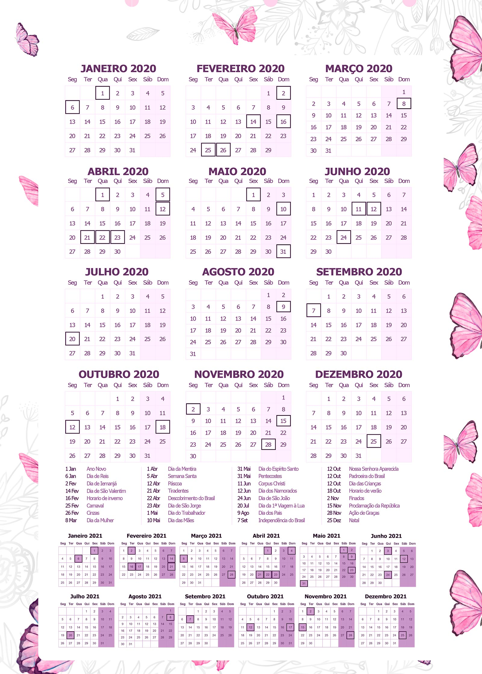 Planner Jardim das Borboletas Calendario 2020
