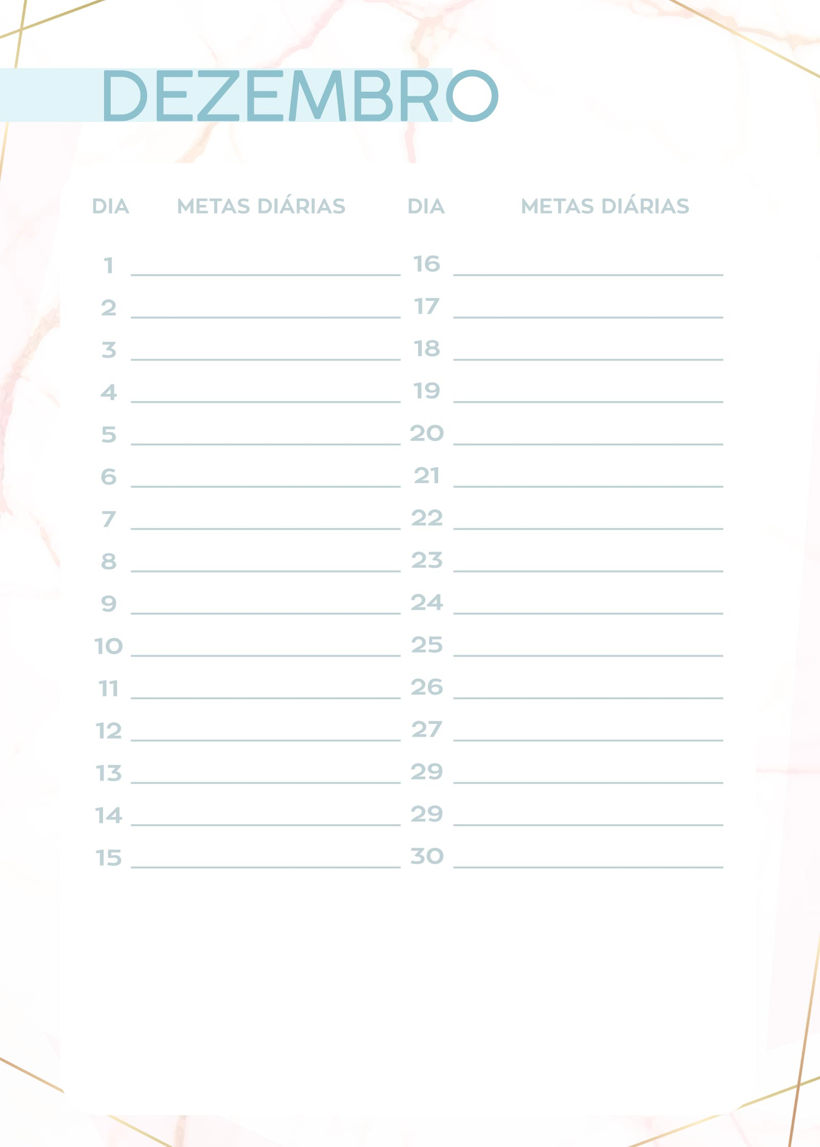 Planner Marmore metas diarias dez