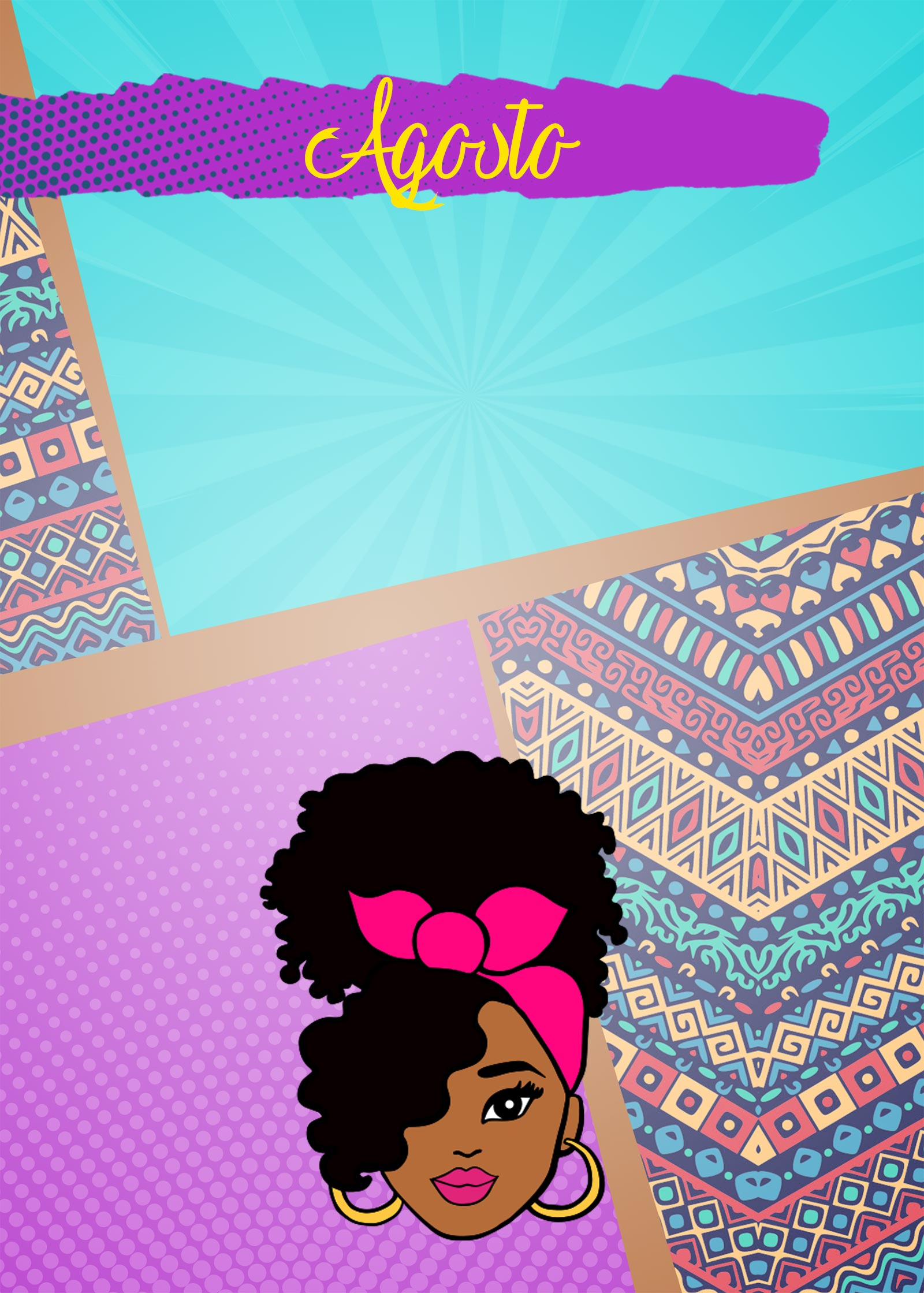 Planner Mulher Afro Capa Agosto