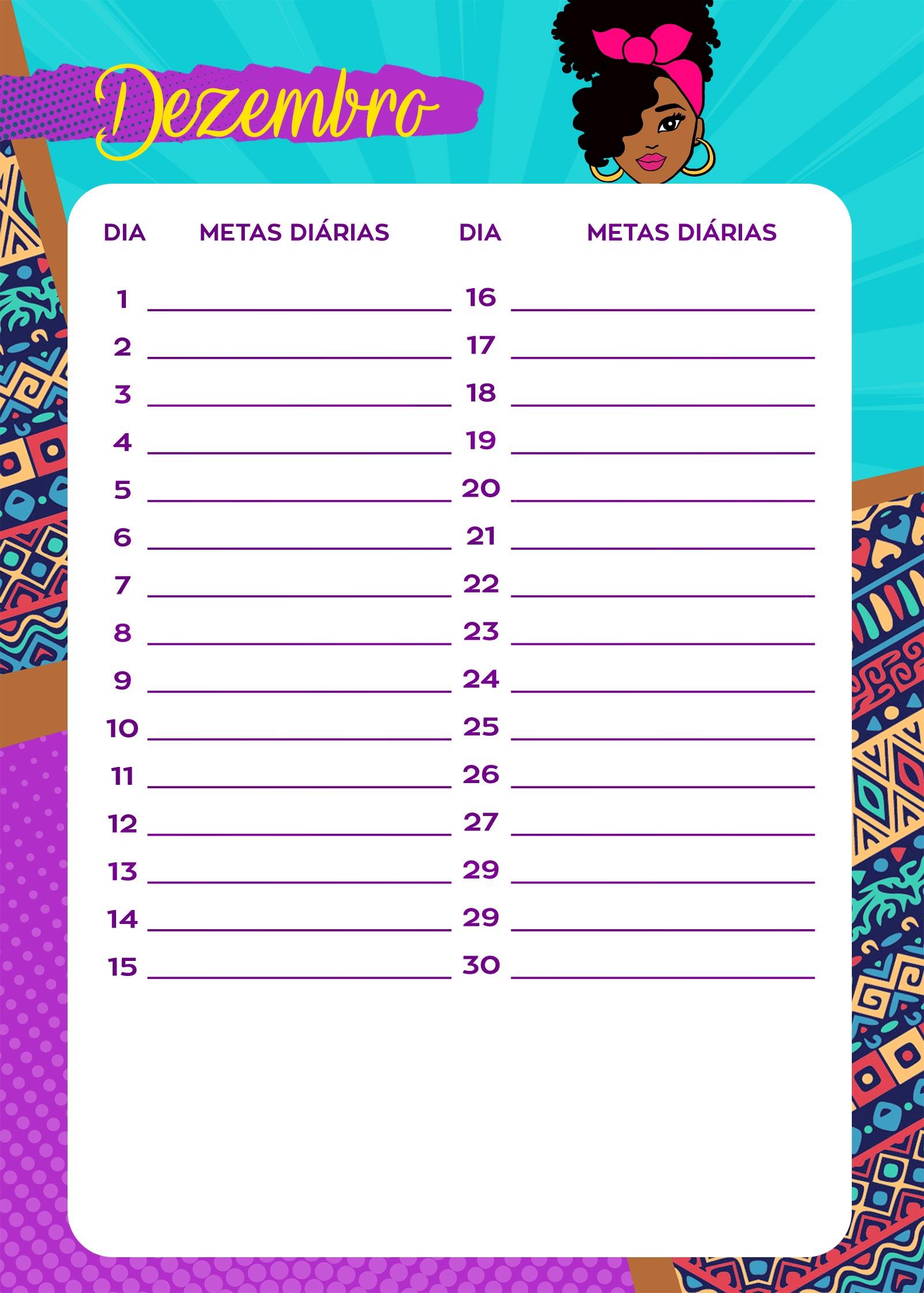 Planner Mulher Afro Metas diarias dez