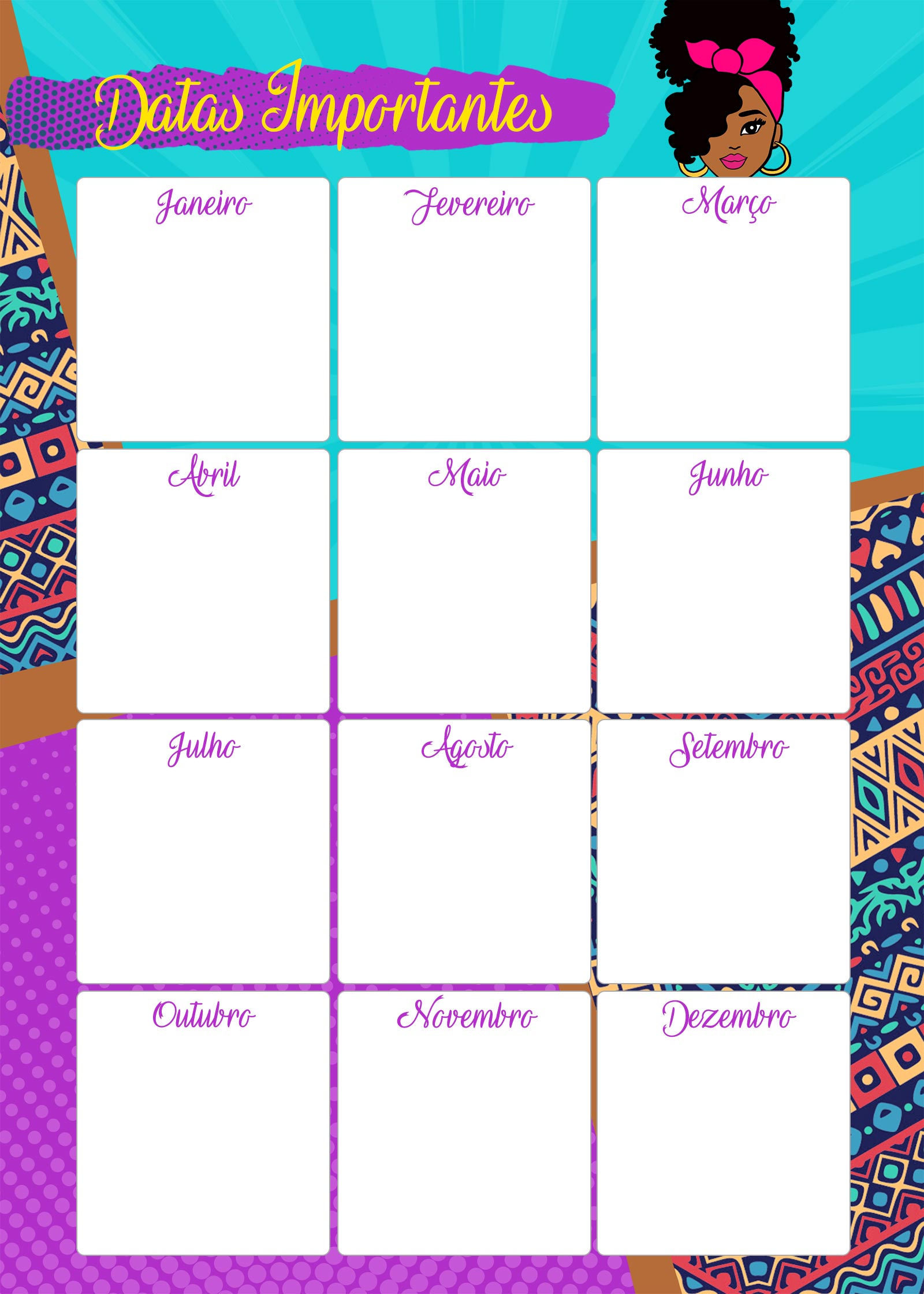 Planner Mulher Afro datas importantes