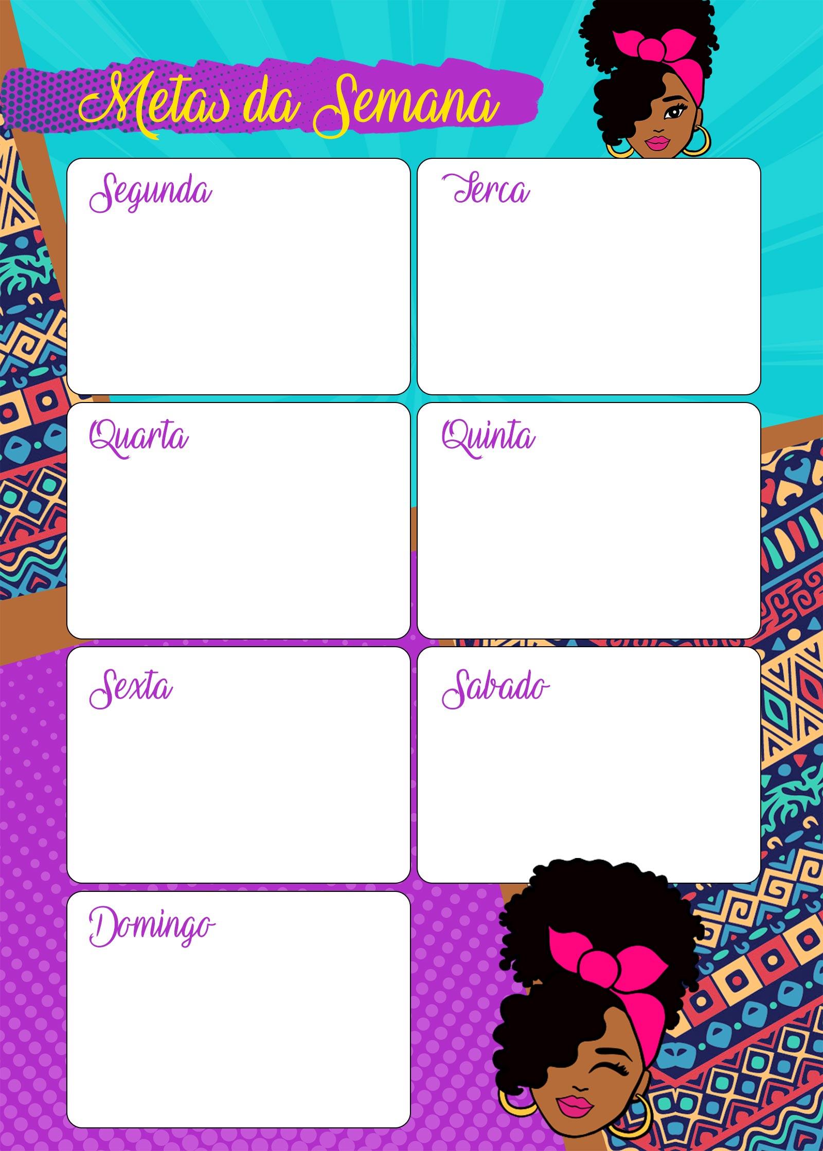 Planner Mulher Afro metas da semana