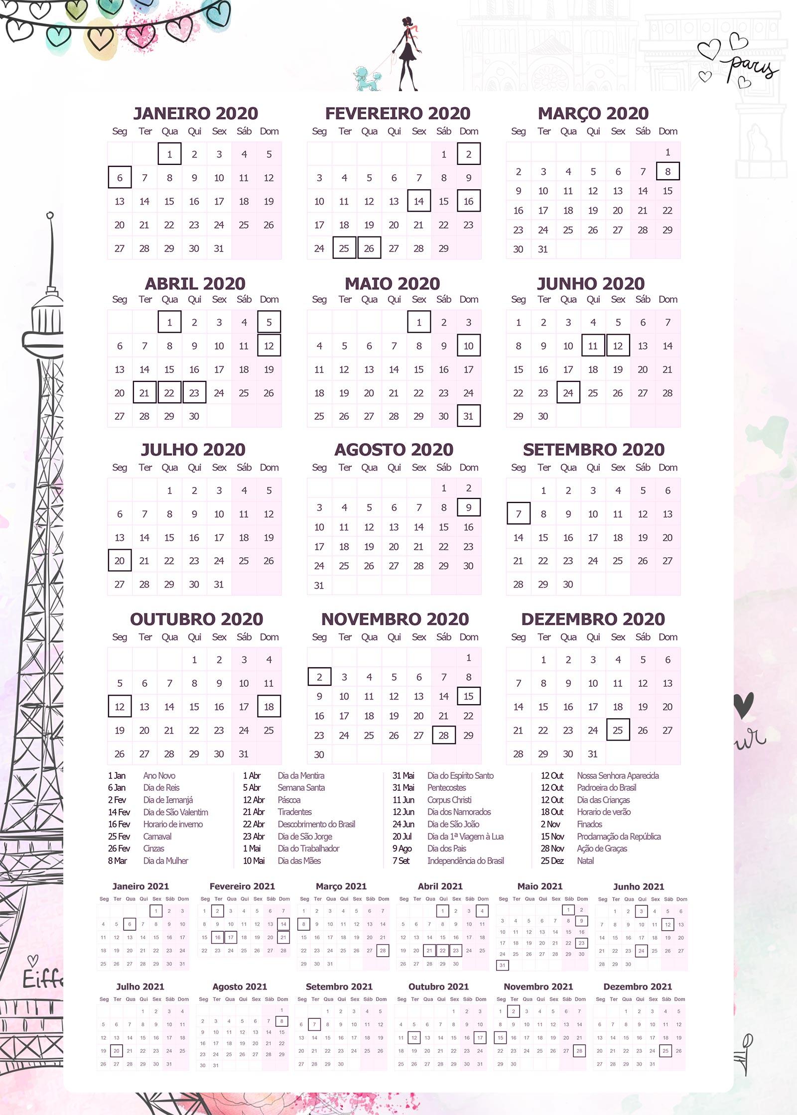 Planner Paris calendario 2020