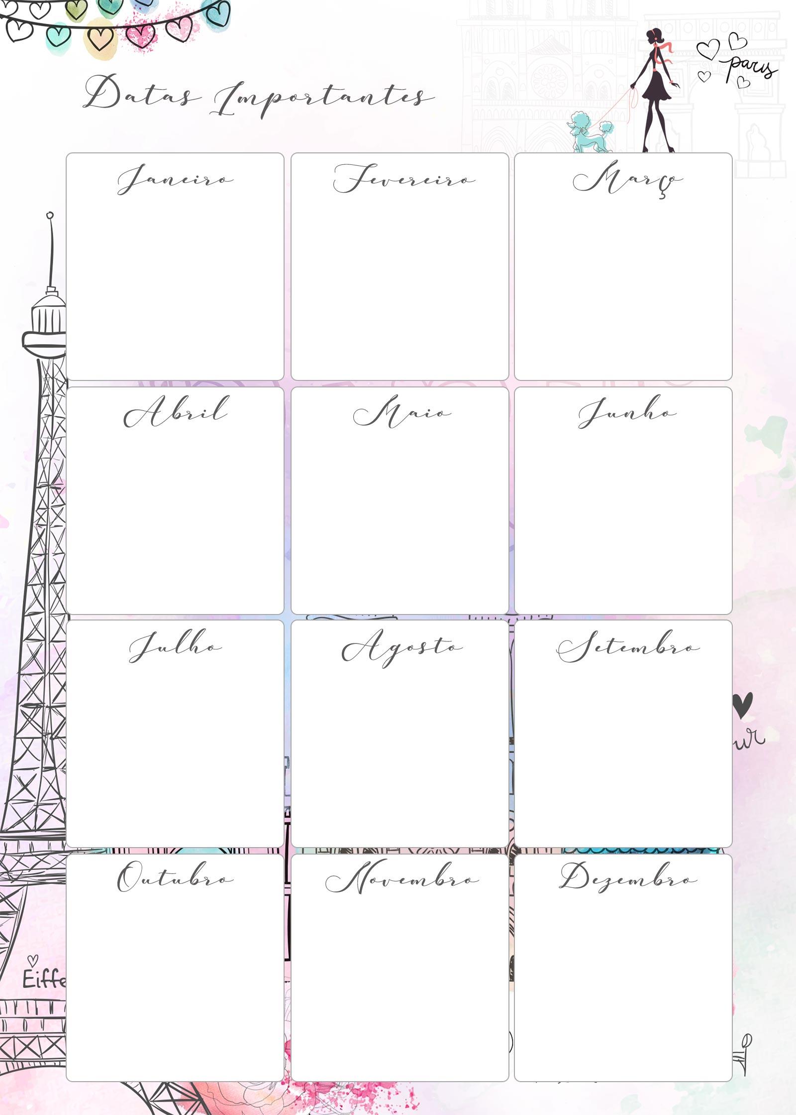 Planner Paris datas importantes