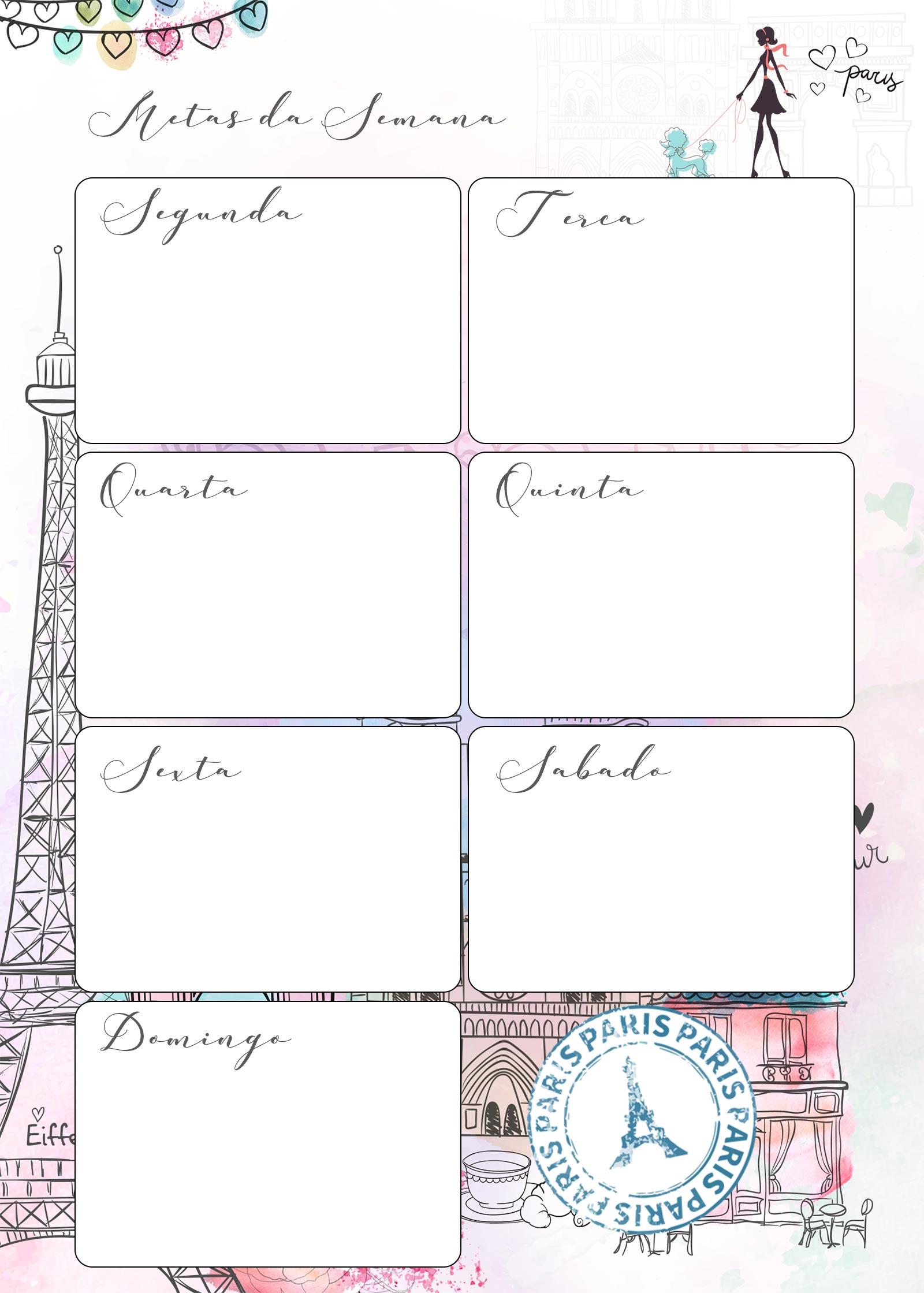 Planner Paris metas da semana