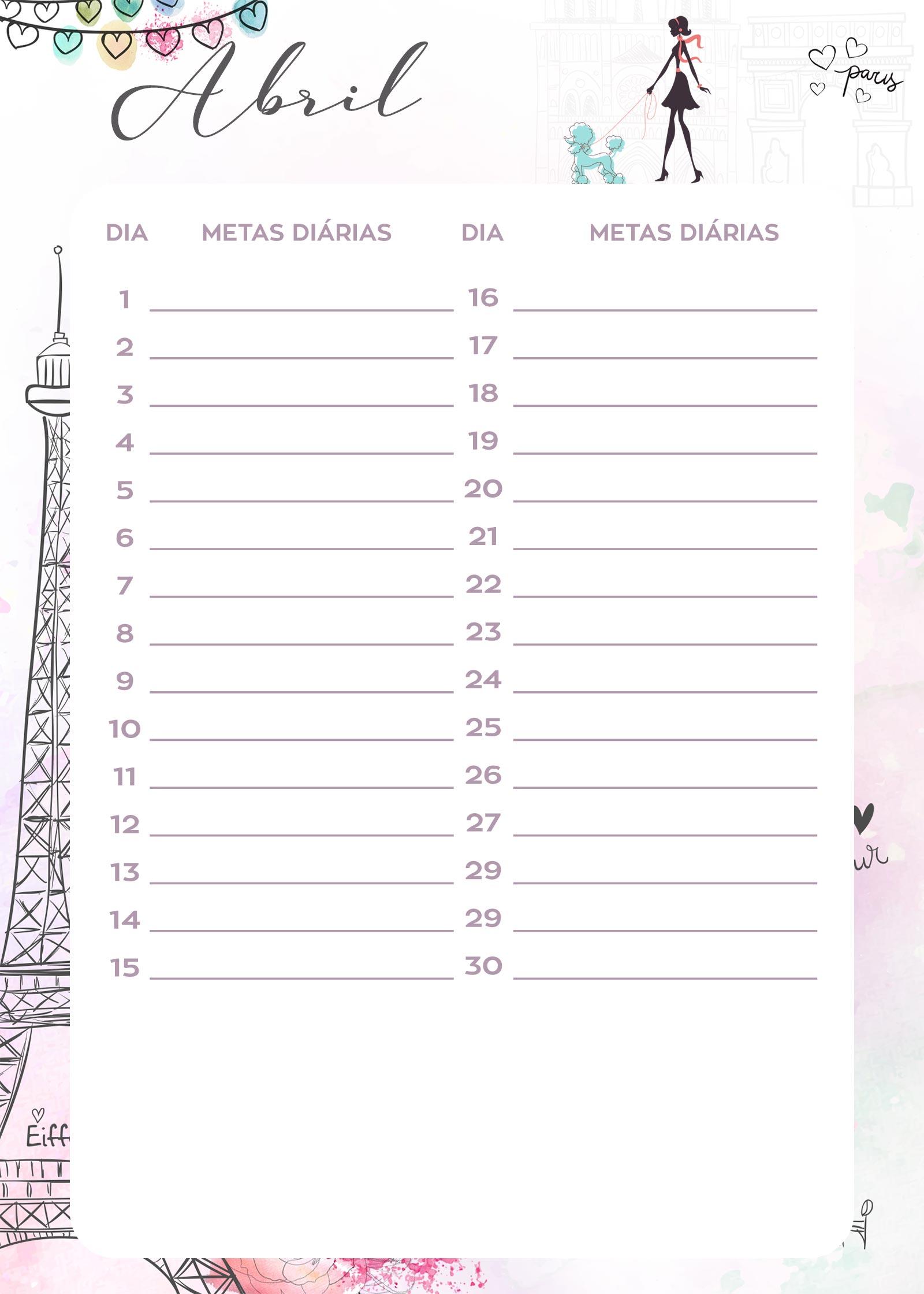 Planner Paris metas diarias abril