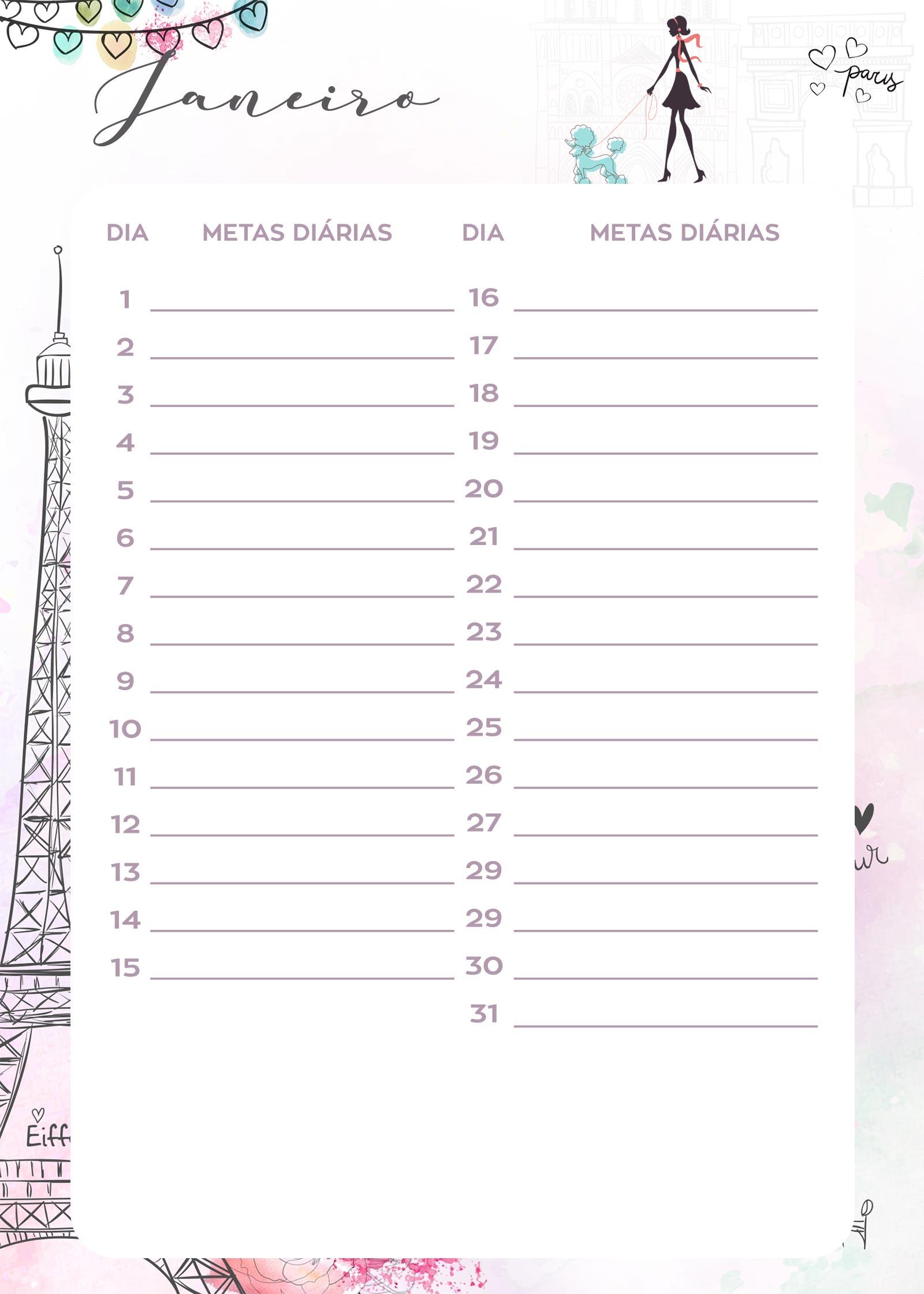 Planner Paris metas diarias janeiro