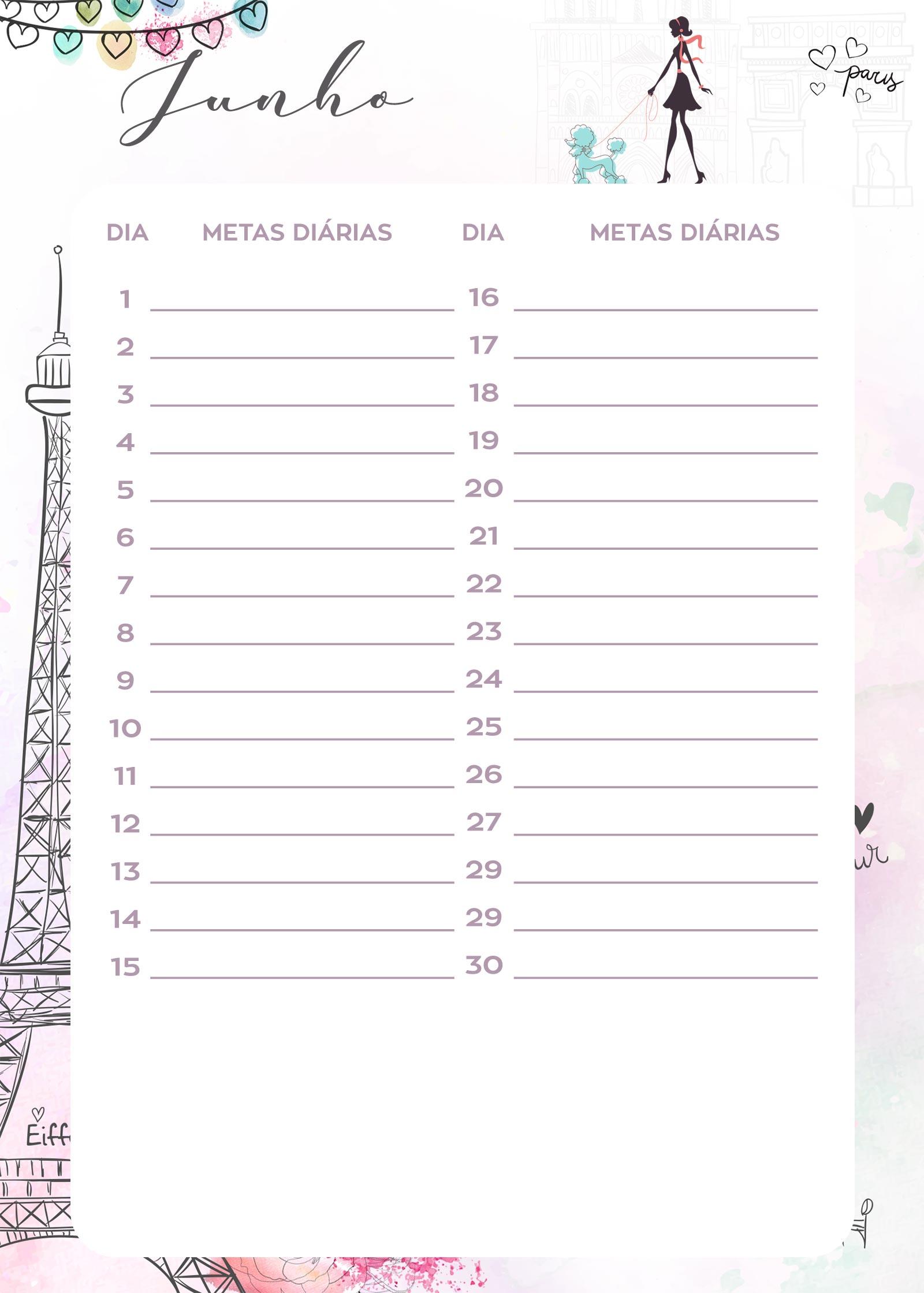 Planner Paris metas diarias junho