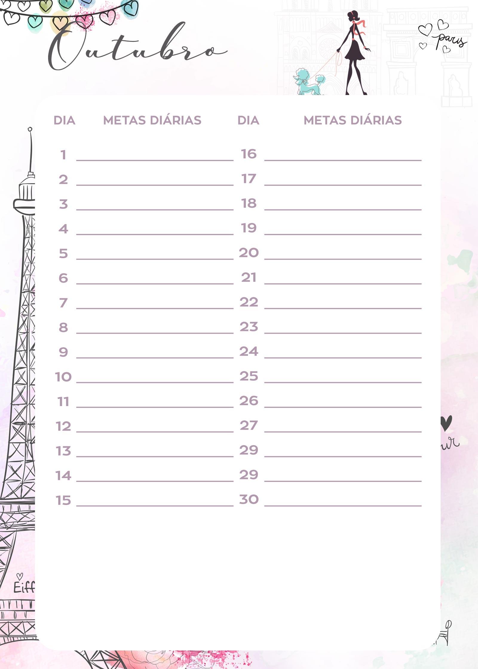 Planner Paris metas diarias outubro