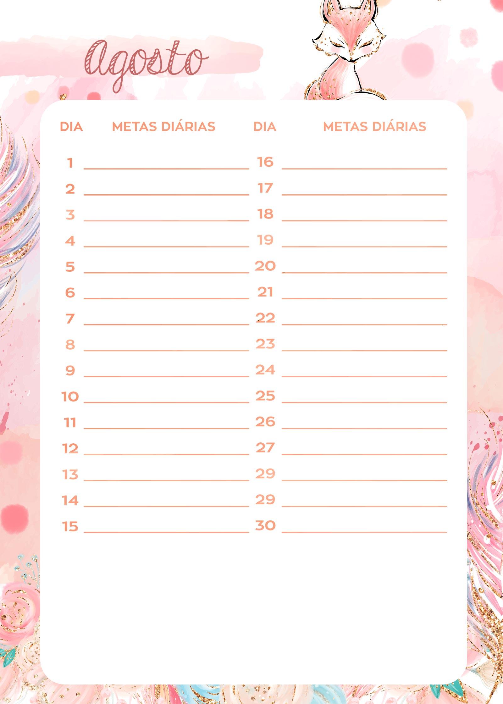 Planner Raposinha metas diarias agosto