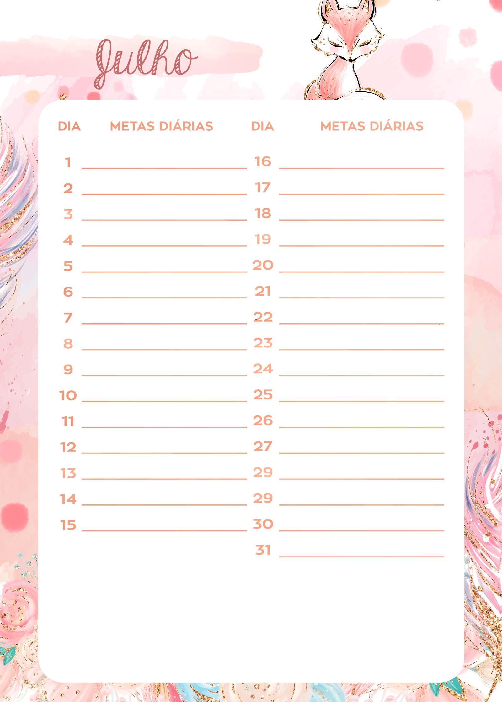 Planner Raposinha metas diarias julho