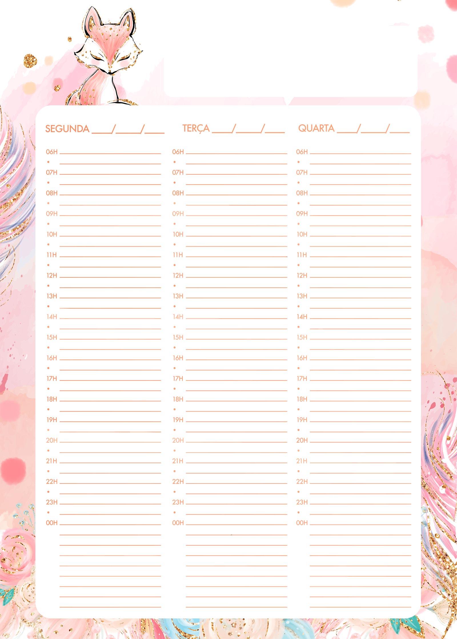 Planner Semanal Raposinha 1