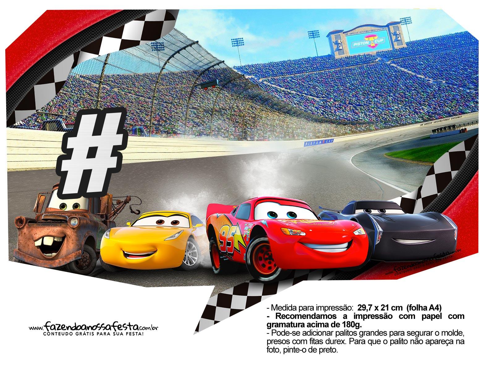 Plaquinhas para fotos Carros 3 Disney 4