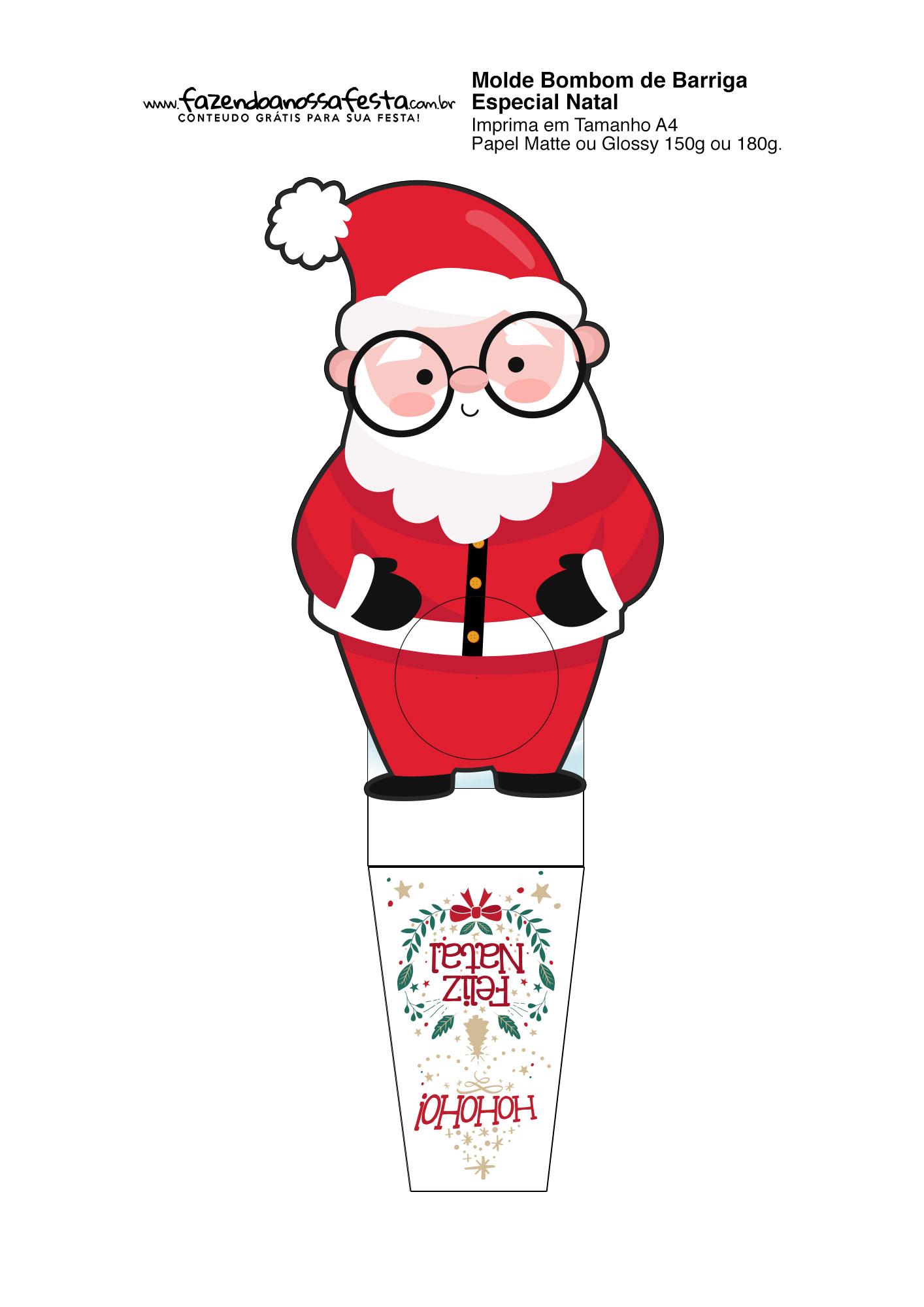 Porta bombom de Natal Papai Noel