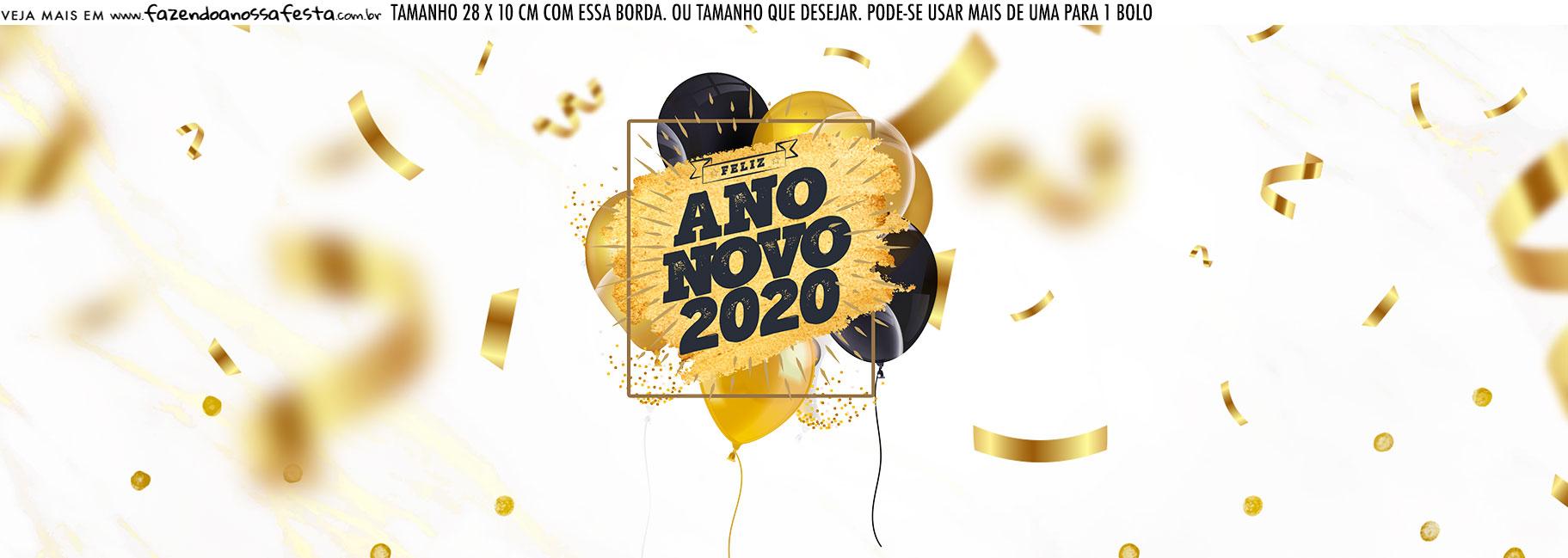Saia Lateral de Bolo Kit Festa Ano Novo 2020