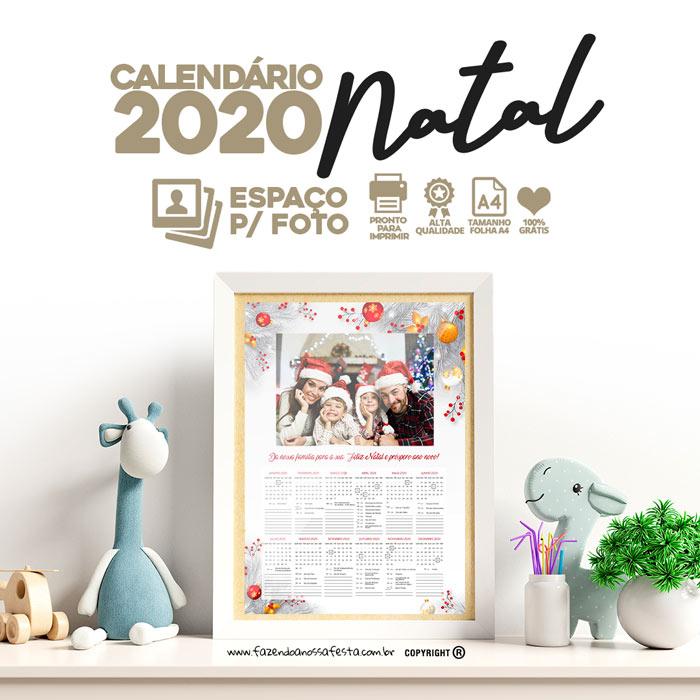 Calendario 2020 Modelo Natal