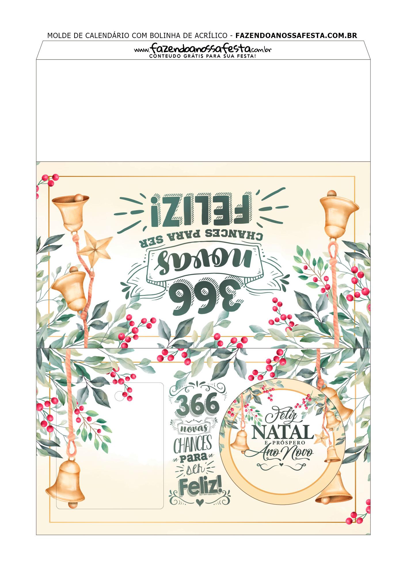 calendario personalizado com bolinha de natal