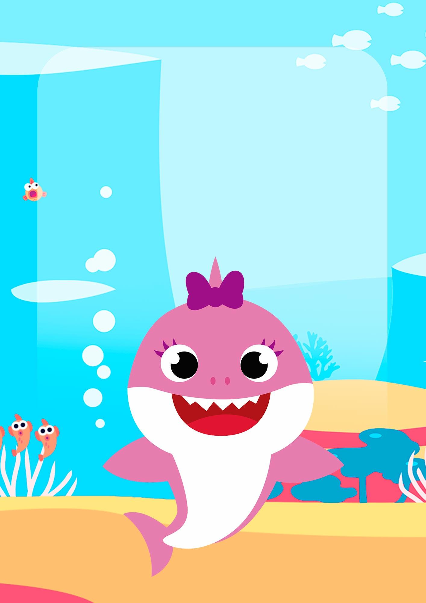 Adesivo para Capa de Caderno Baby Shark Menina