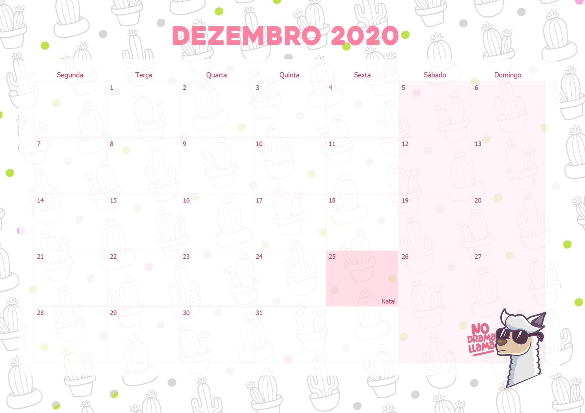 Calendario Mensal Lhama Drama 2020 Dezembro