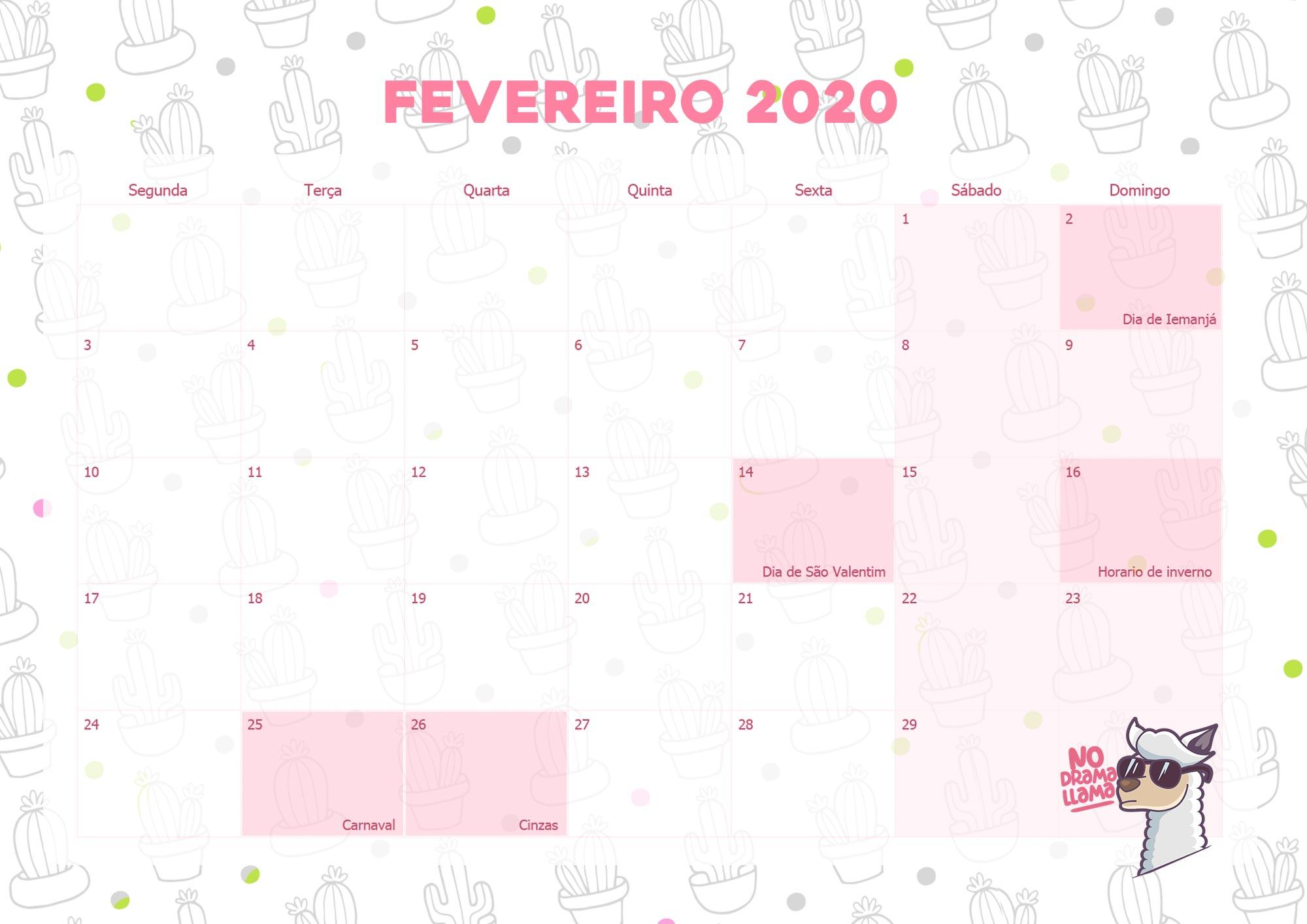 Calendario Mensal Lhama Drama 2020 Fevereiro