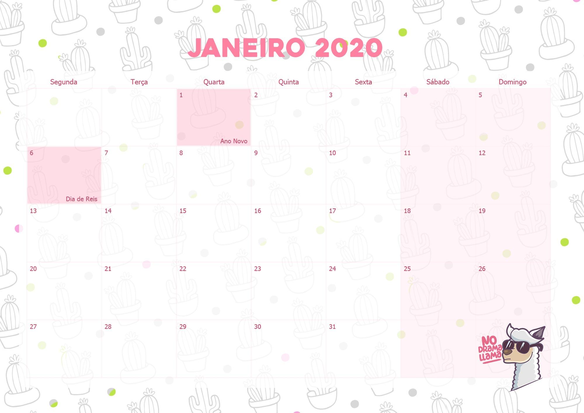 Calendario Mensal Lhama Drama 2020 Janeiro