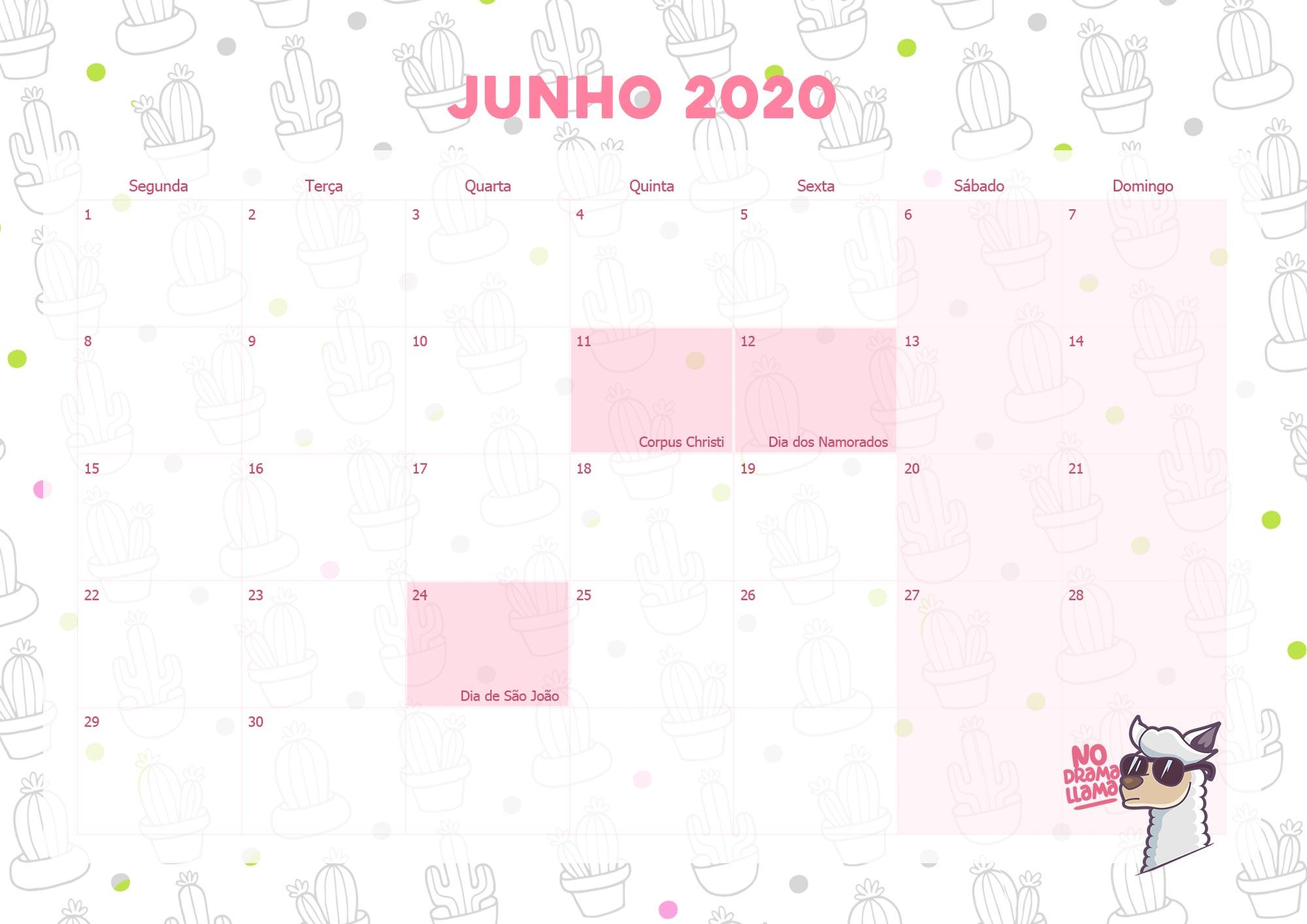 Calendario Mensal Lhama Drama 2020 Junho