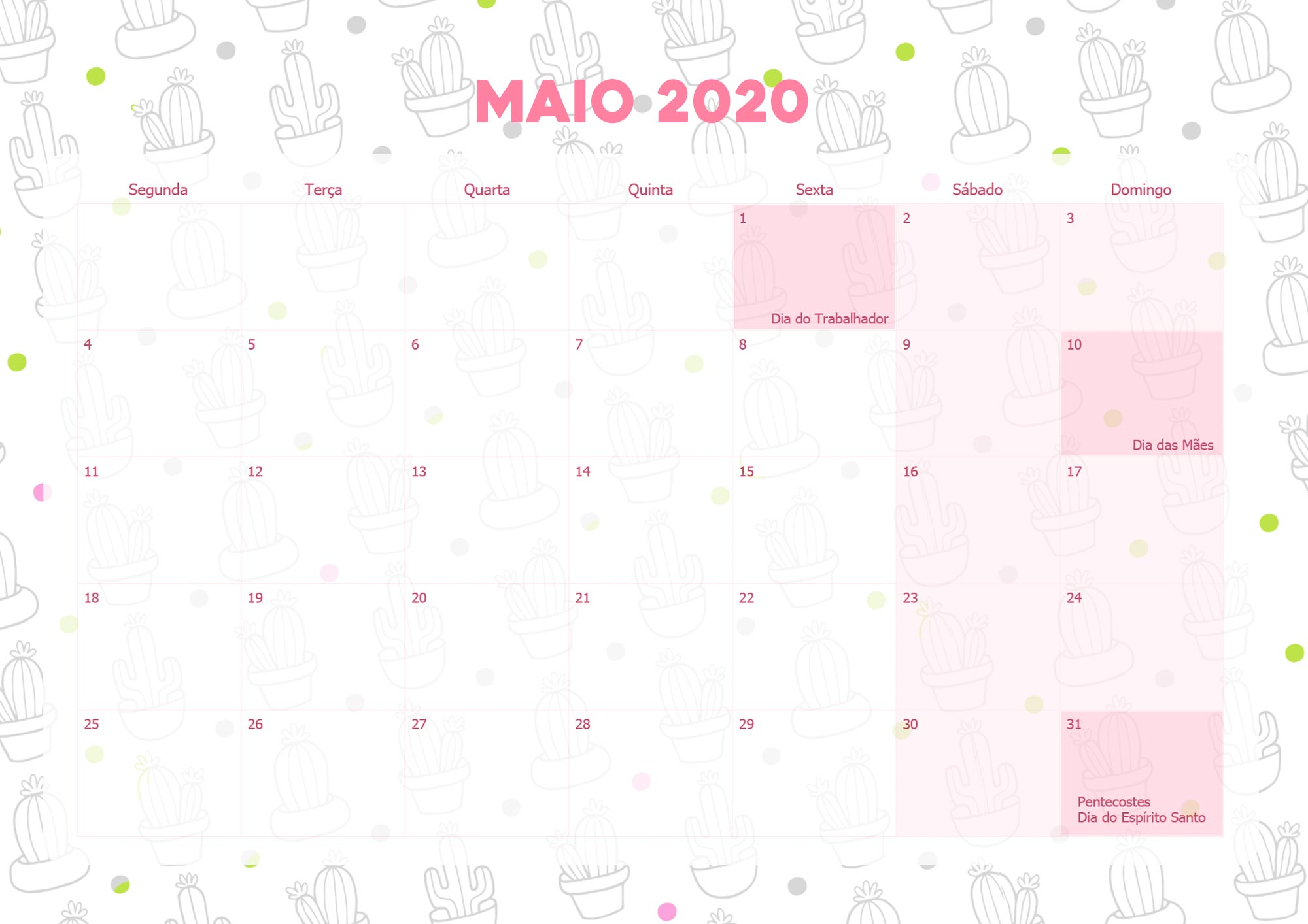 Calendario Mensal Lhama Drama 2020 Maio