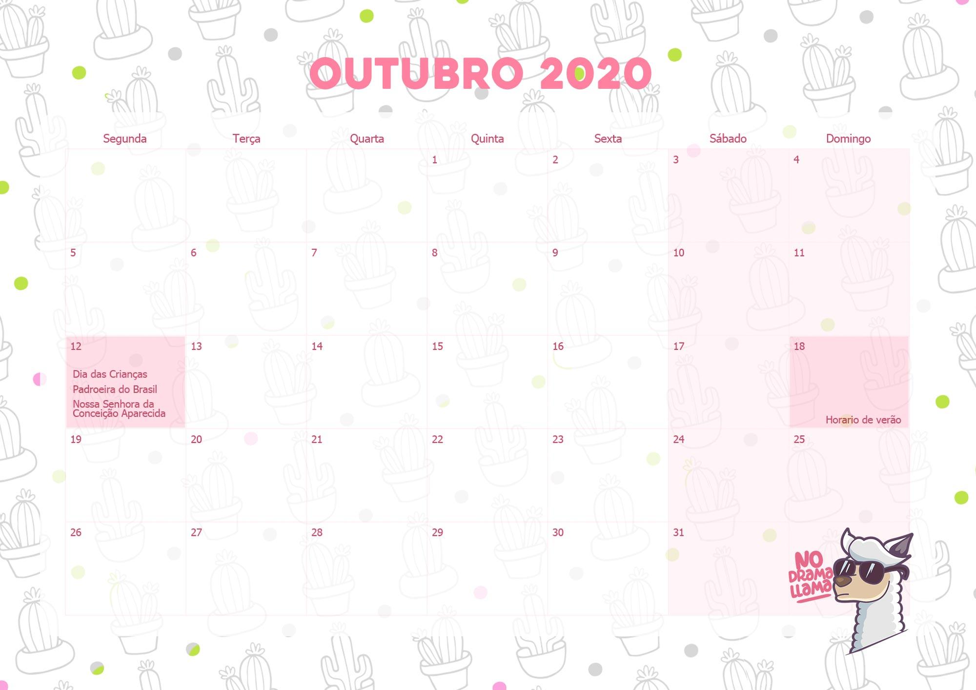 Calendario Mensal Lhama Drama 2020 Outubro