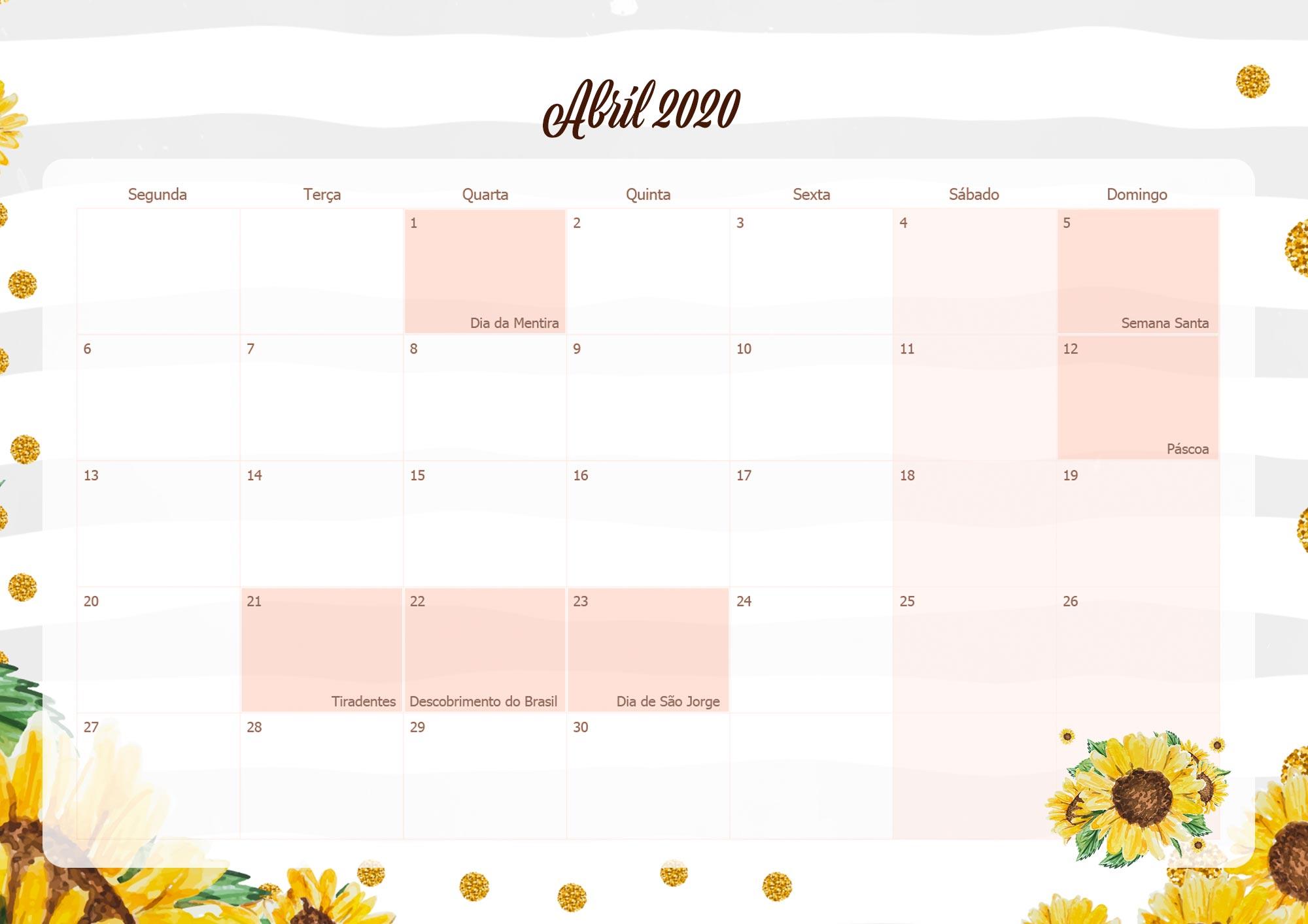 Calendario Mensal Planner para Professora 2020 Abril