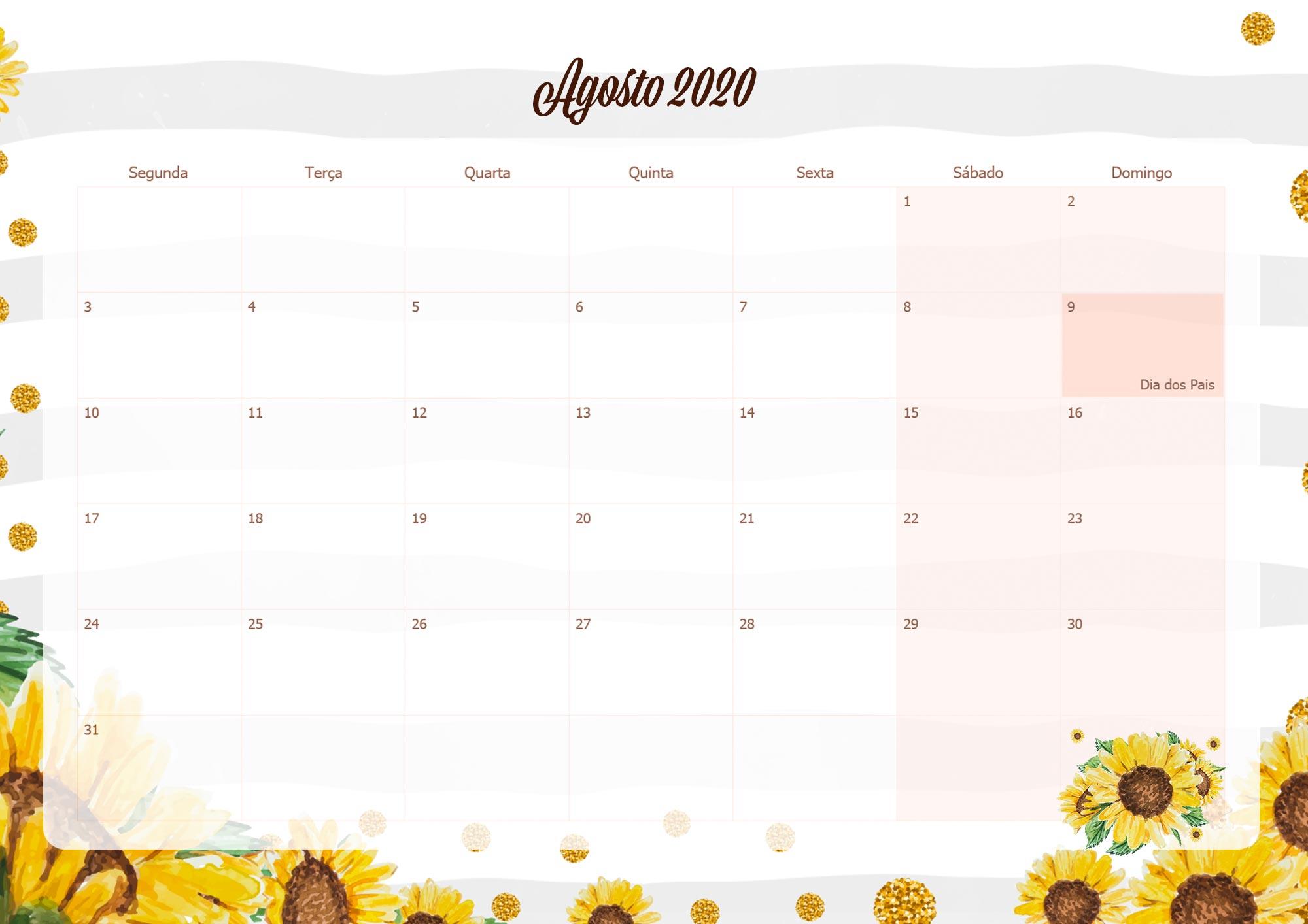 Calendario Mensal Planner para Professora 2020 Agosto