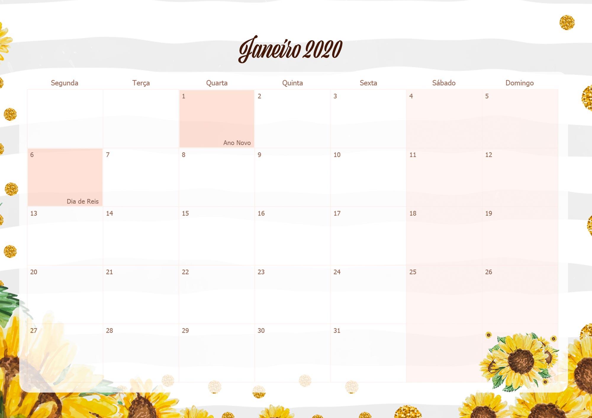 Calendario Mensal Planner para Professora 2020 Janeiro