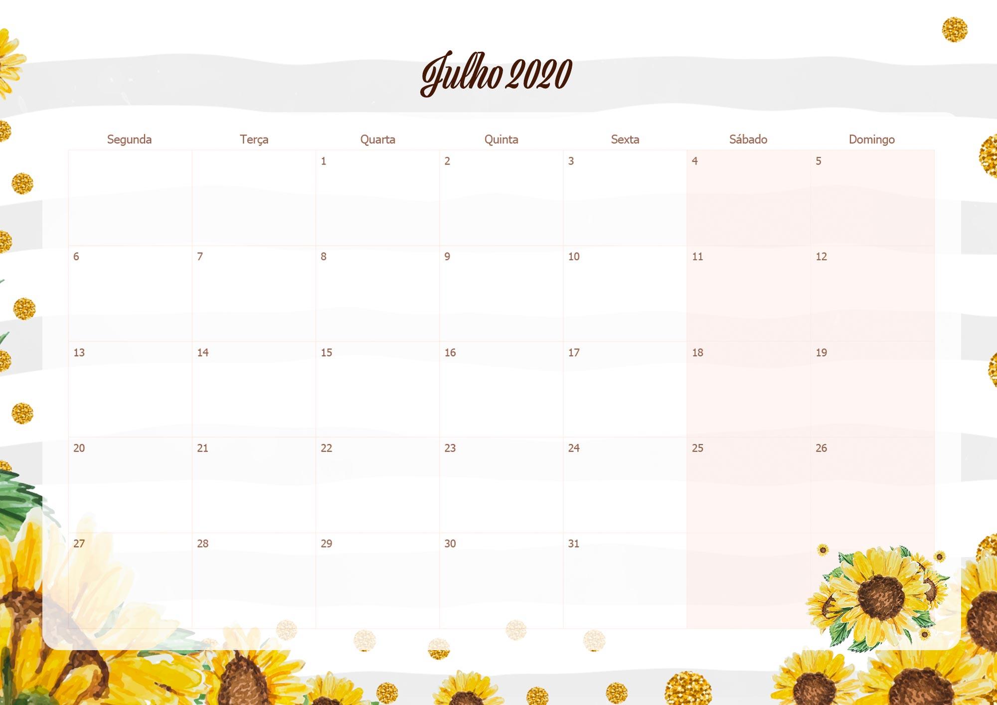 Calendario Mensal Planner para Professora 2020 Julho