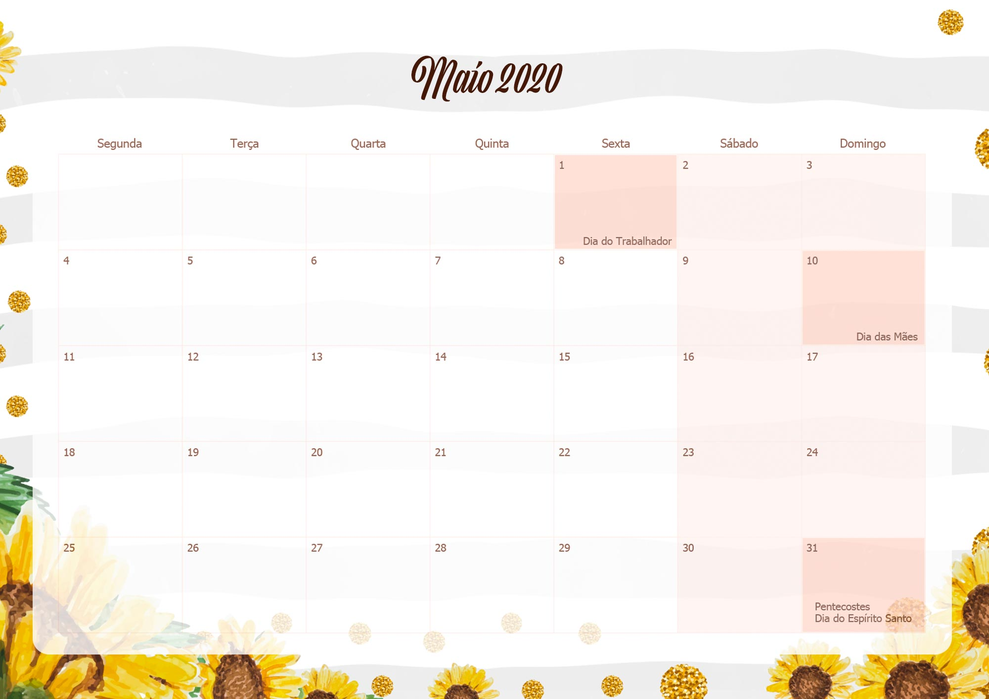 Calendario Mensal Planner para Professora 2020 Maio