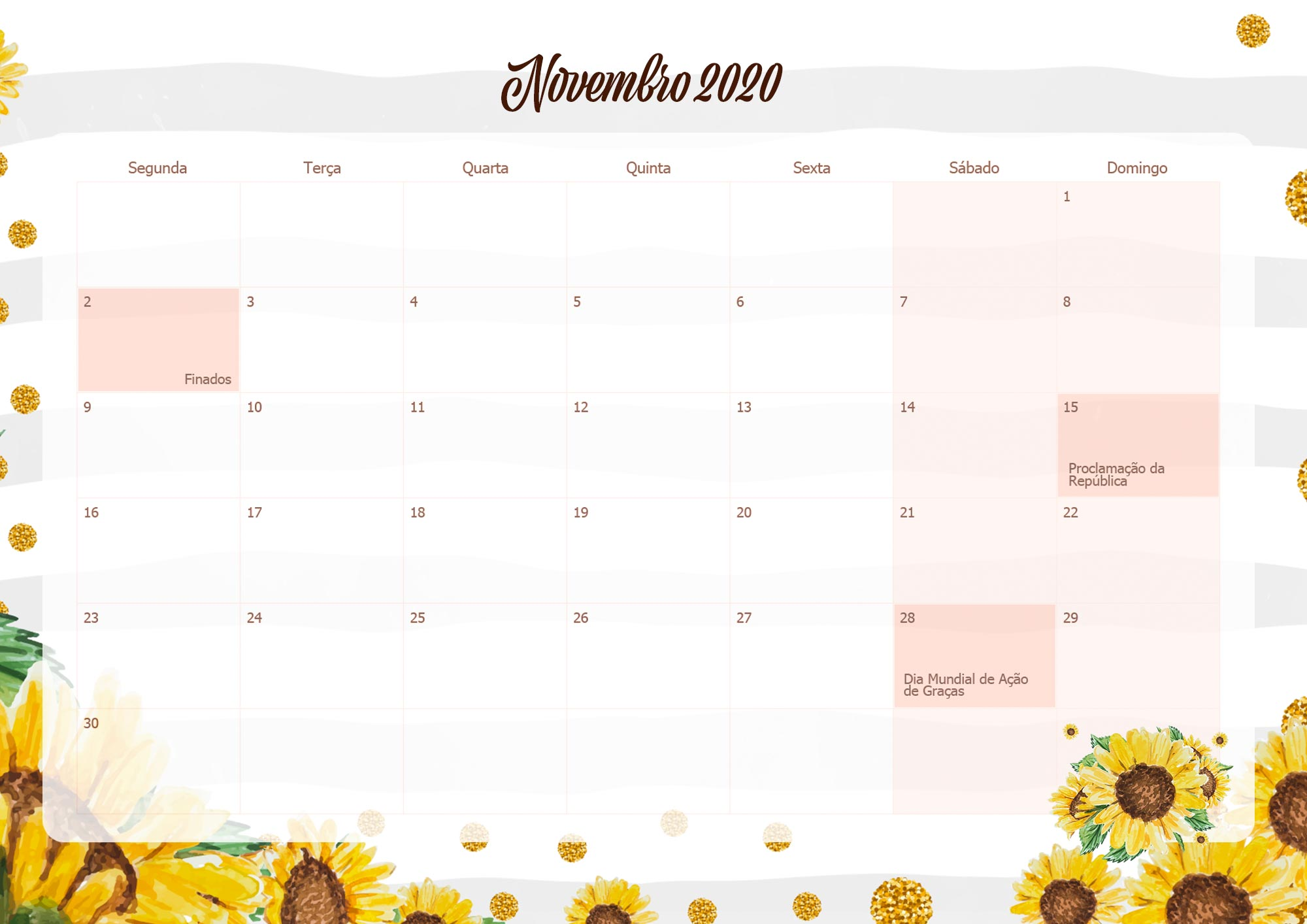 Calendario Mensal Planner para Professora 2020 Novembro
