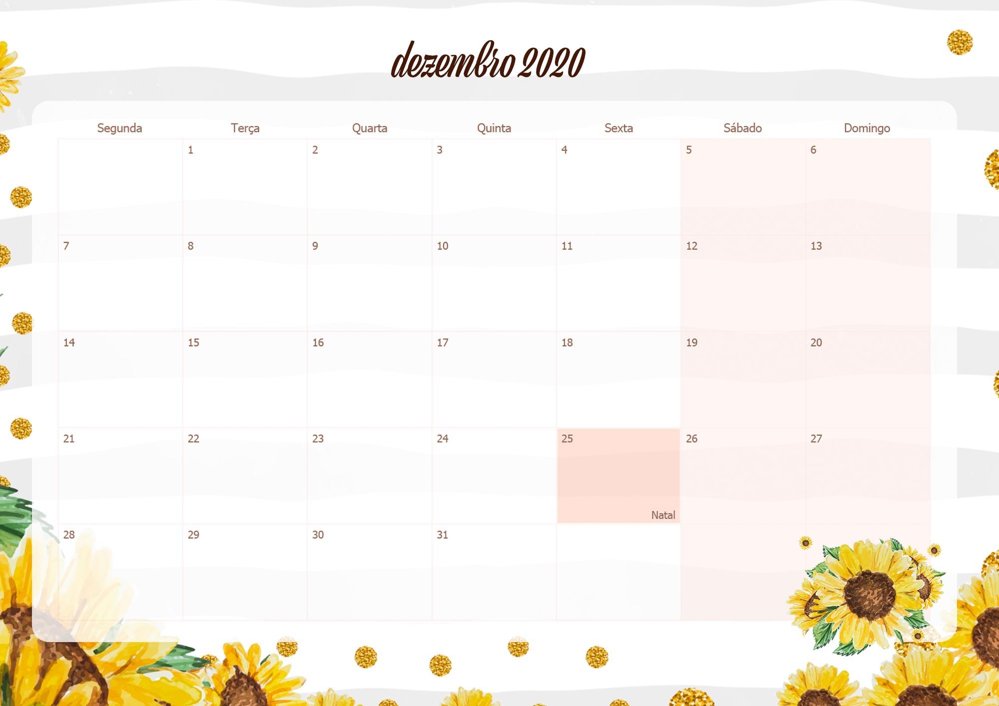 Calendario mensal para professoras 2020 Dezembro