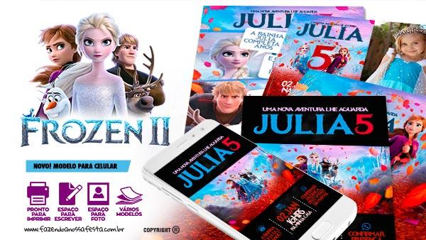 Convite Festa Frozen 2 para imprimir