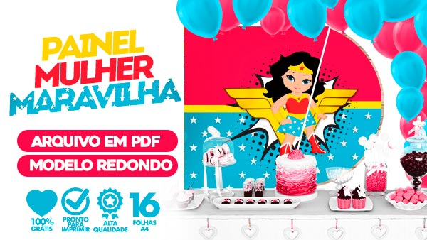 Painel Festa Mulher Maravilha Cute