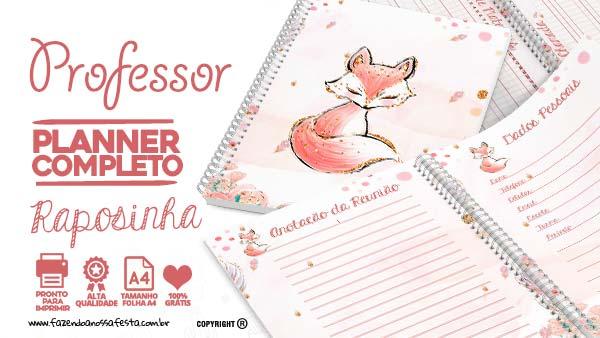 Planner Professor 2020 Raposinha para Imprimir