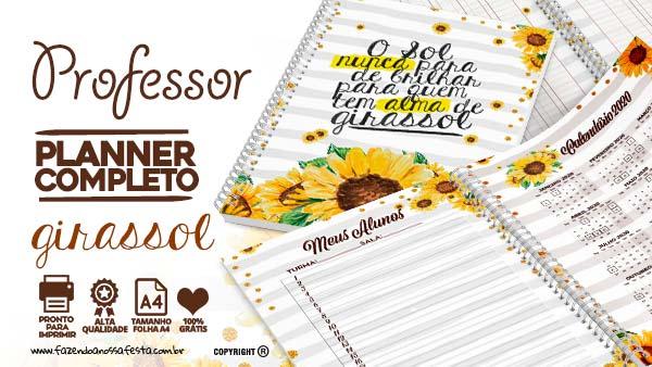 Planner Professor 2020 para Imprimir Girassol