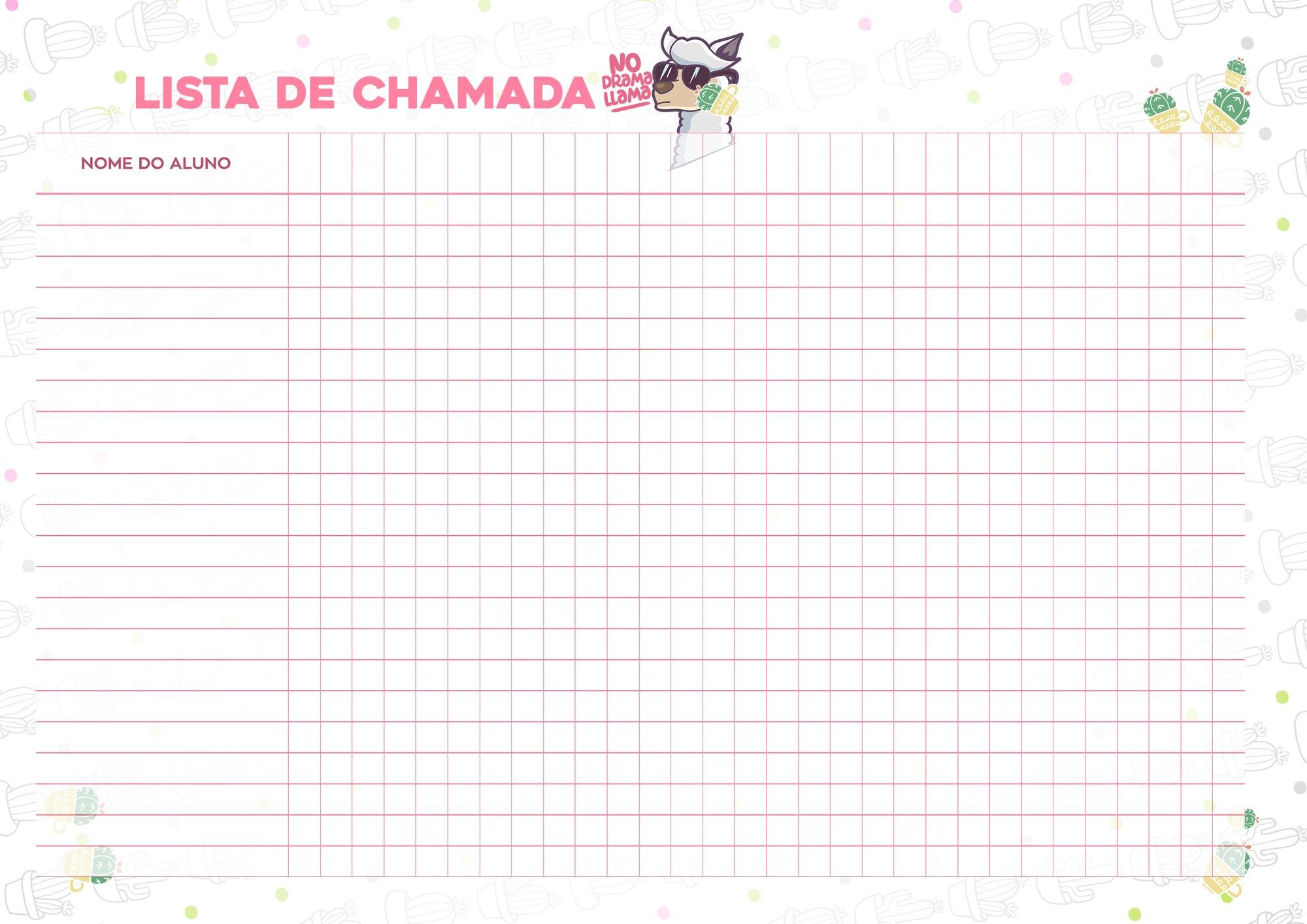 Planner Professor Lhama Lista de Chamada