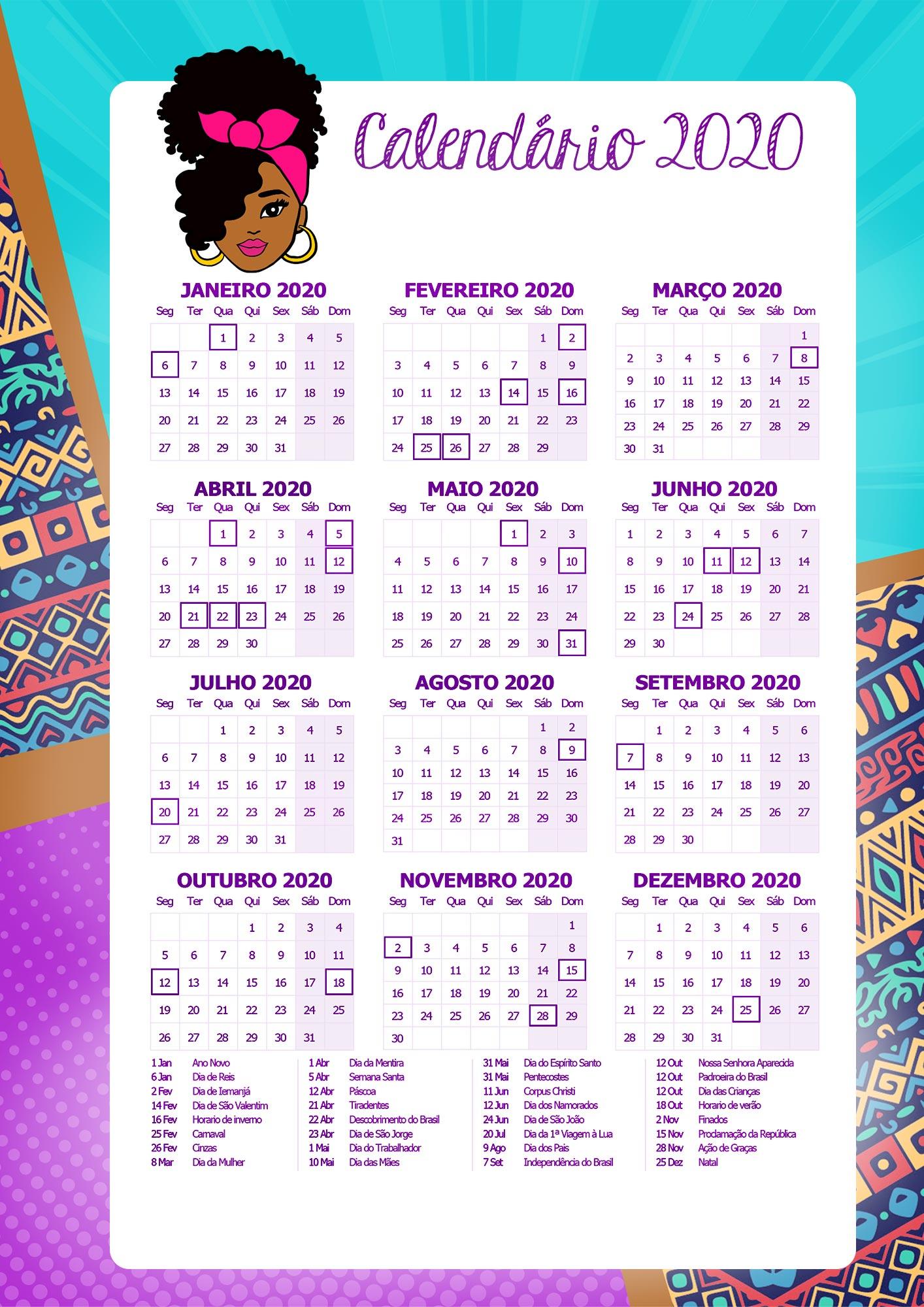 Planner Professor Mulher Afro Calendario Professor