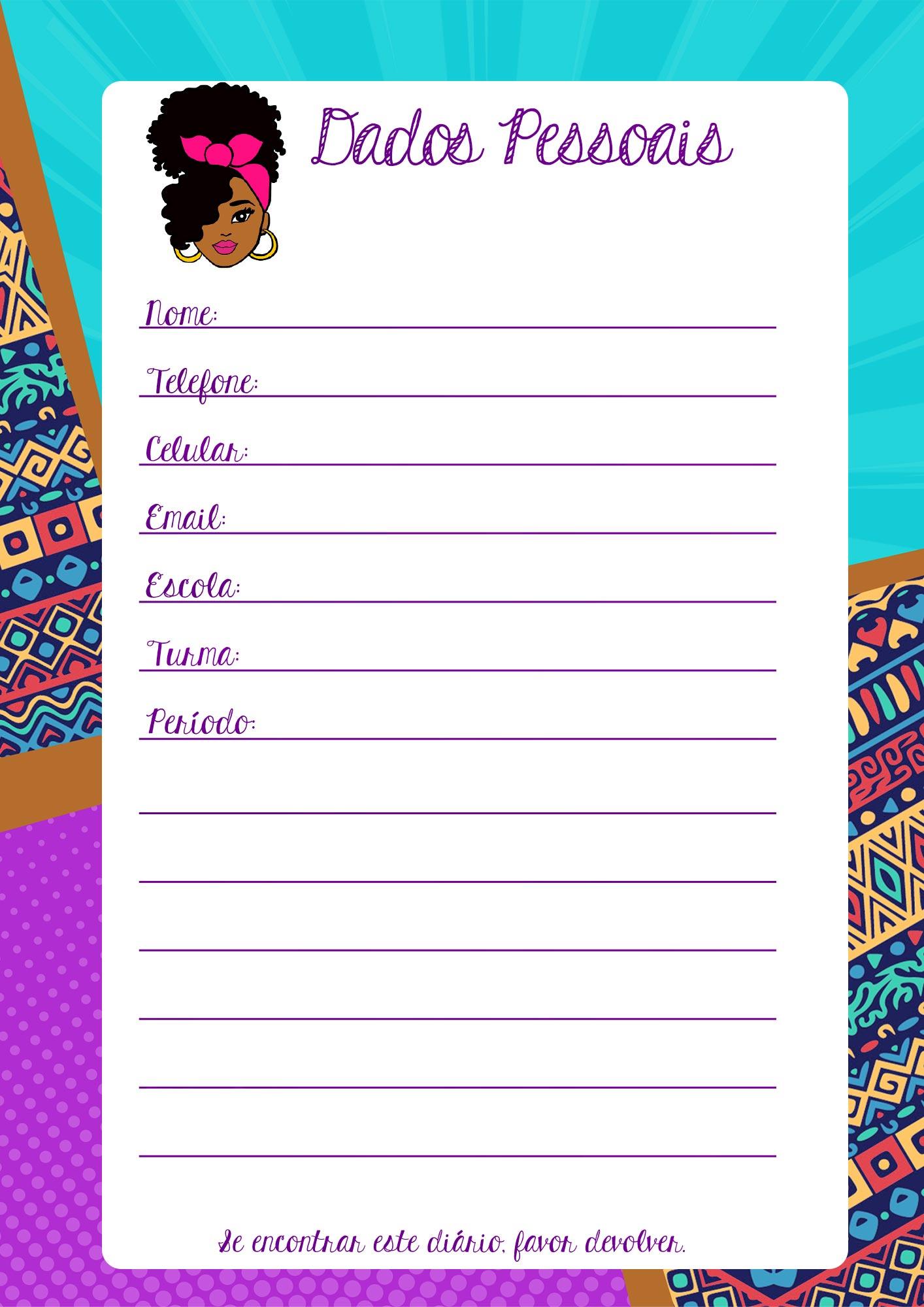 Planner Professor Mulher Afro Dados Pessoais