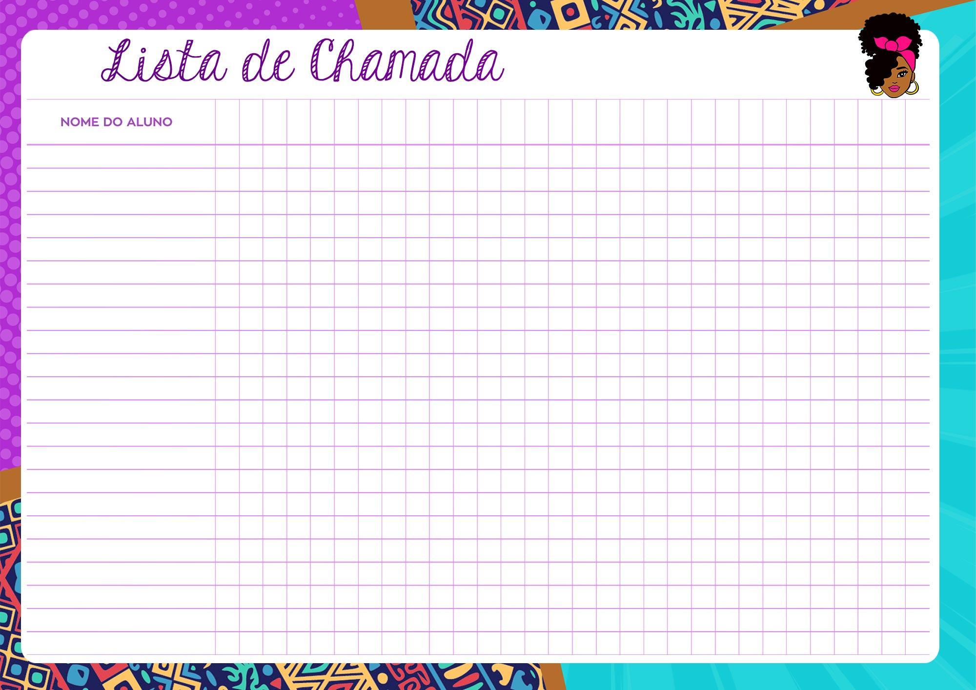 Planner Professor Mulher Afro Lista de Chamada