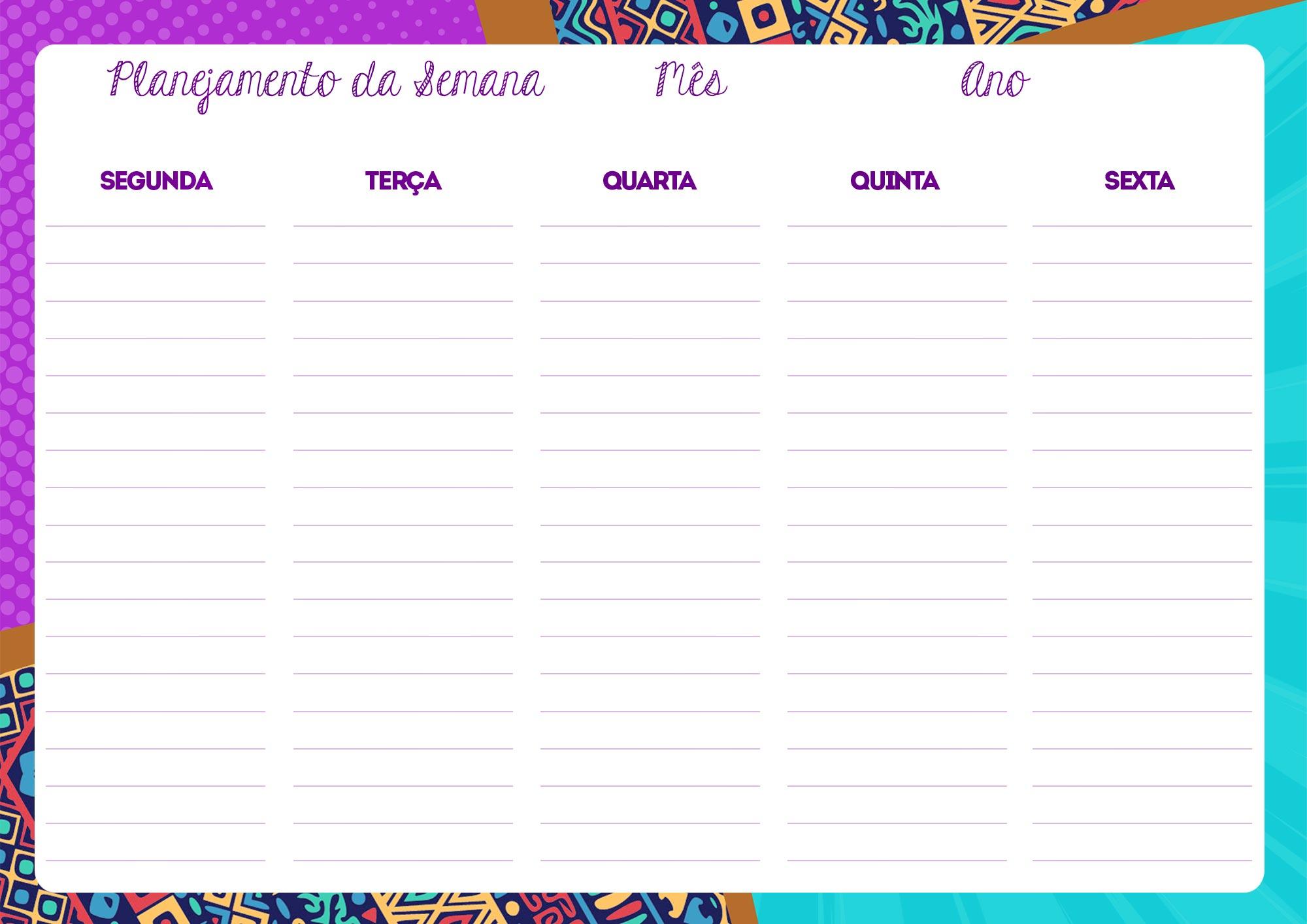 Planner Professor Mulher Afro Planejamento da Semana