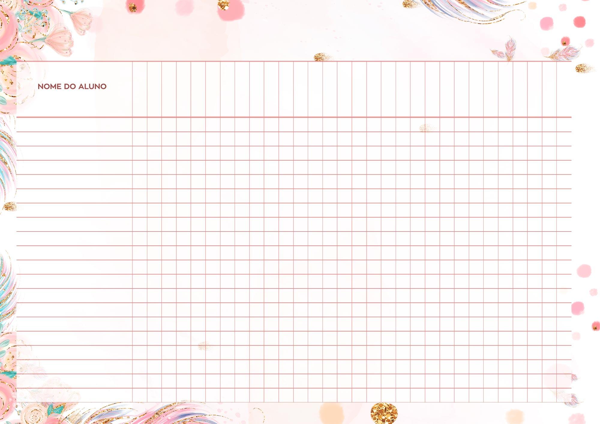 Planner Professor Raposinha Tabela em Branco